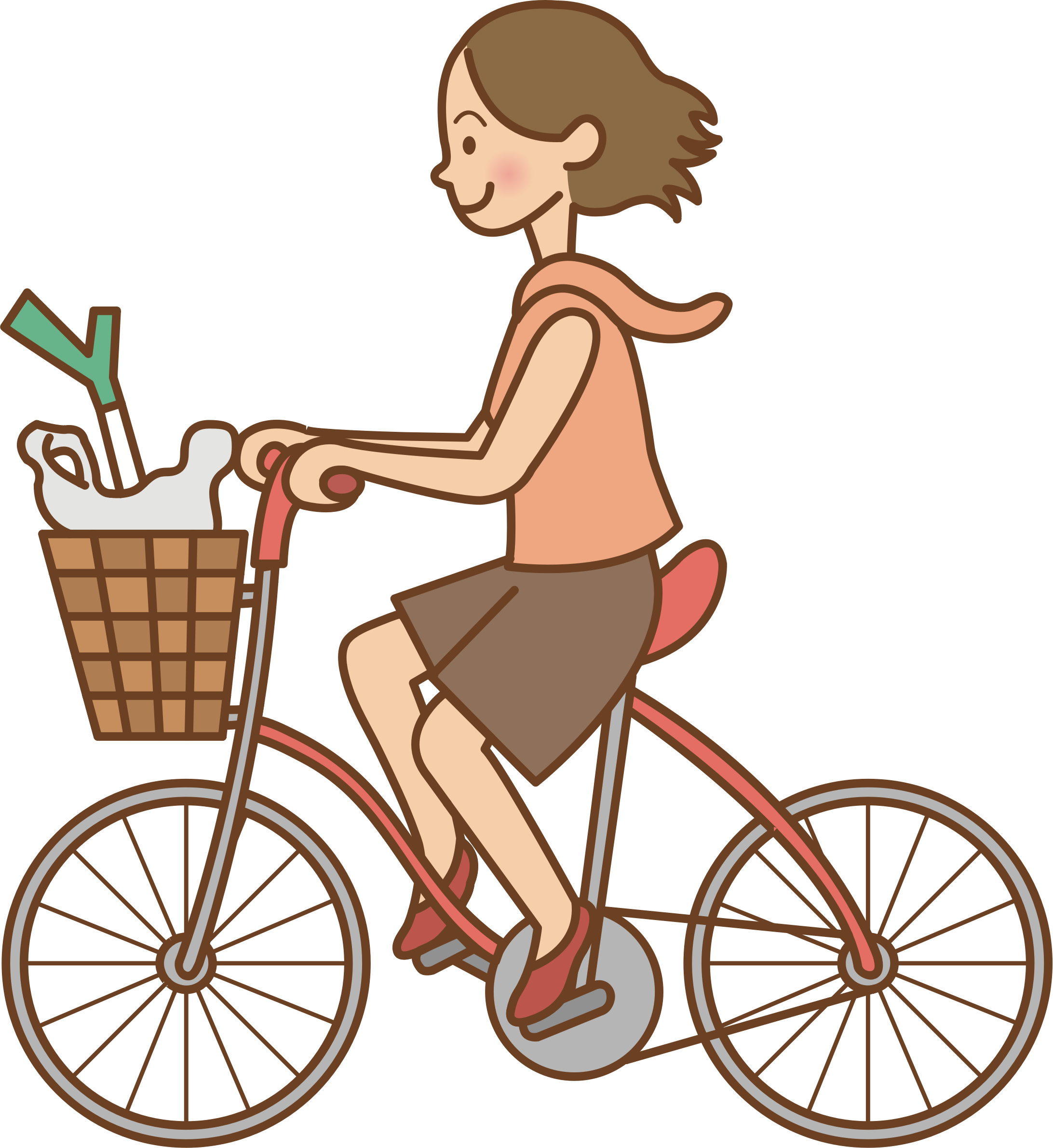 Woman riding a bicycle by oksmith
