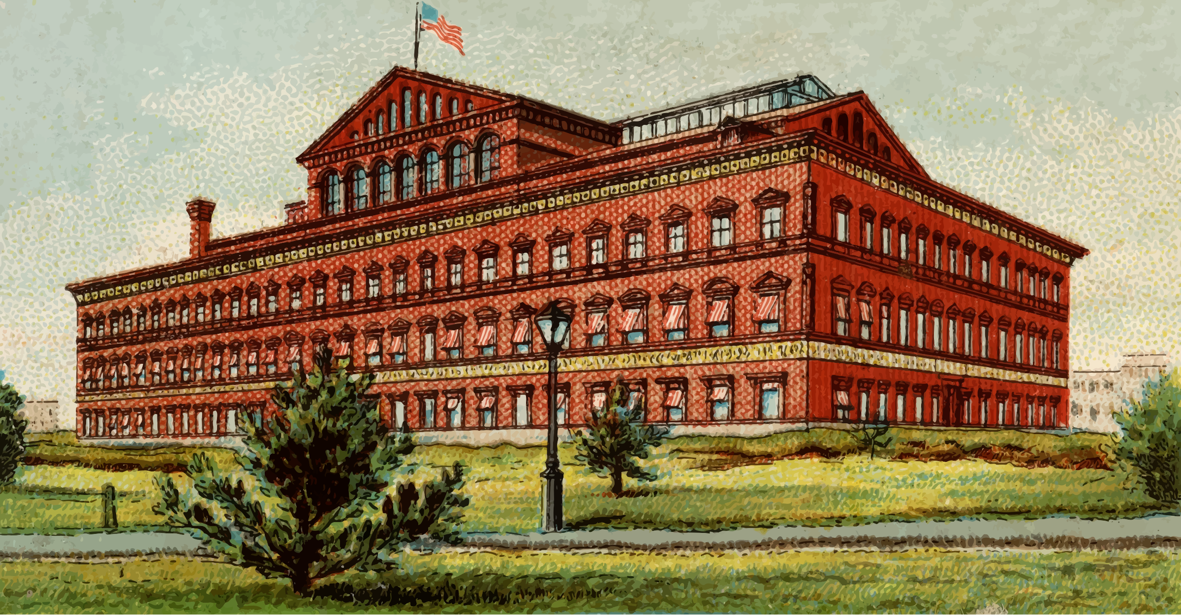 Cigarette card - Pension Building in Washington by Firkin