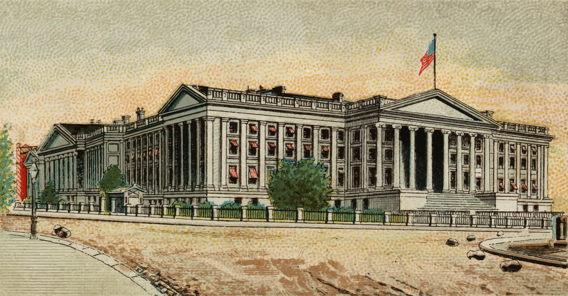 Cigarette card - Treasury Building in Washington by Firkin