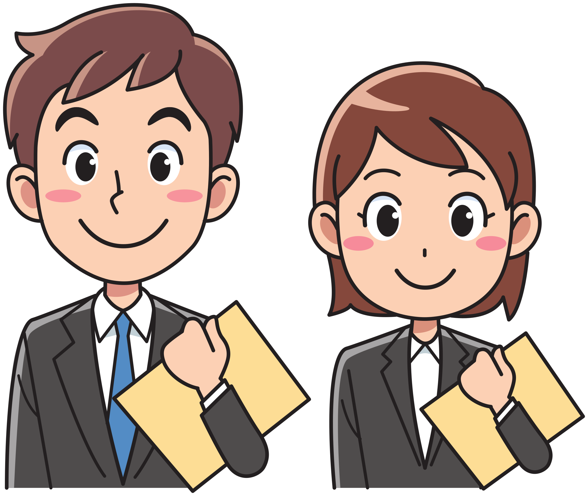 Business man and woman with documents by Juhele