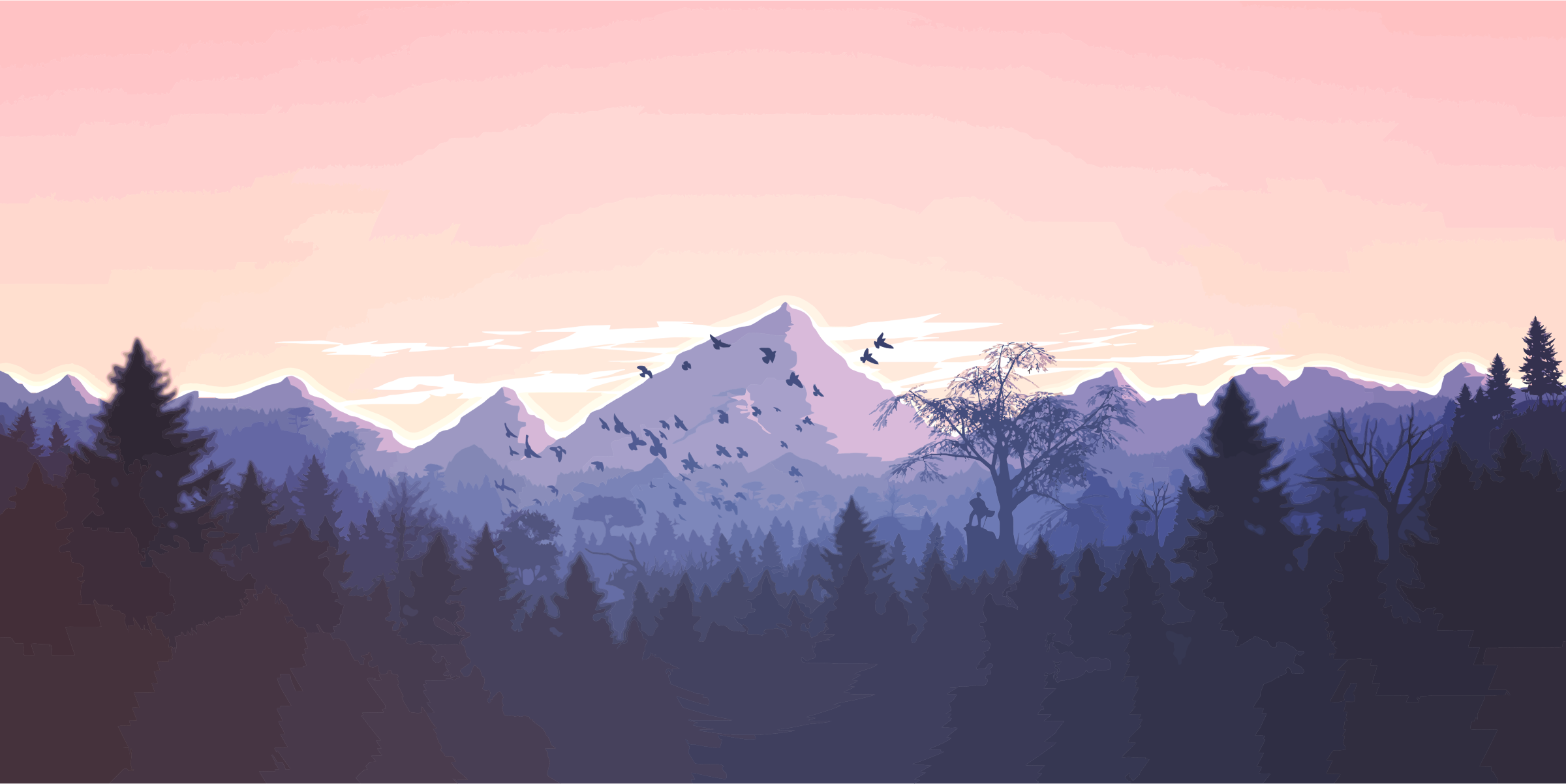 Forrest And Mountains Illustration by GDJ