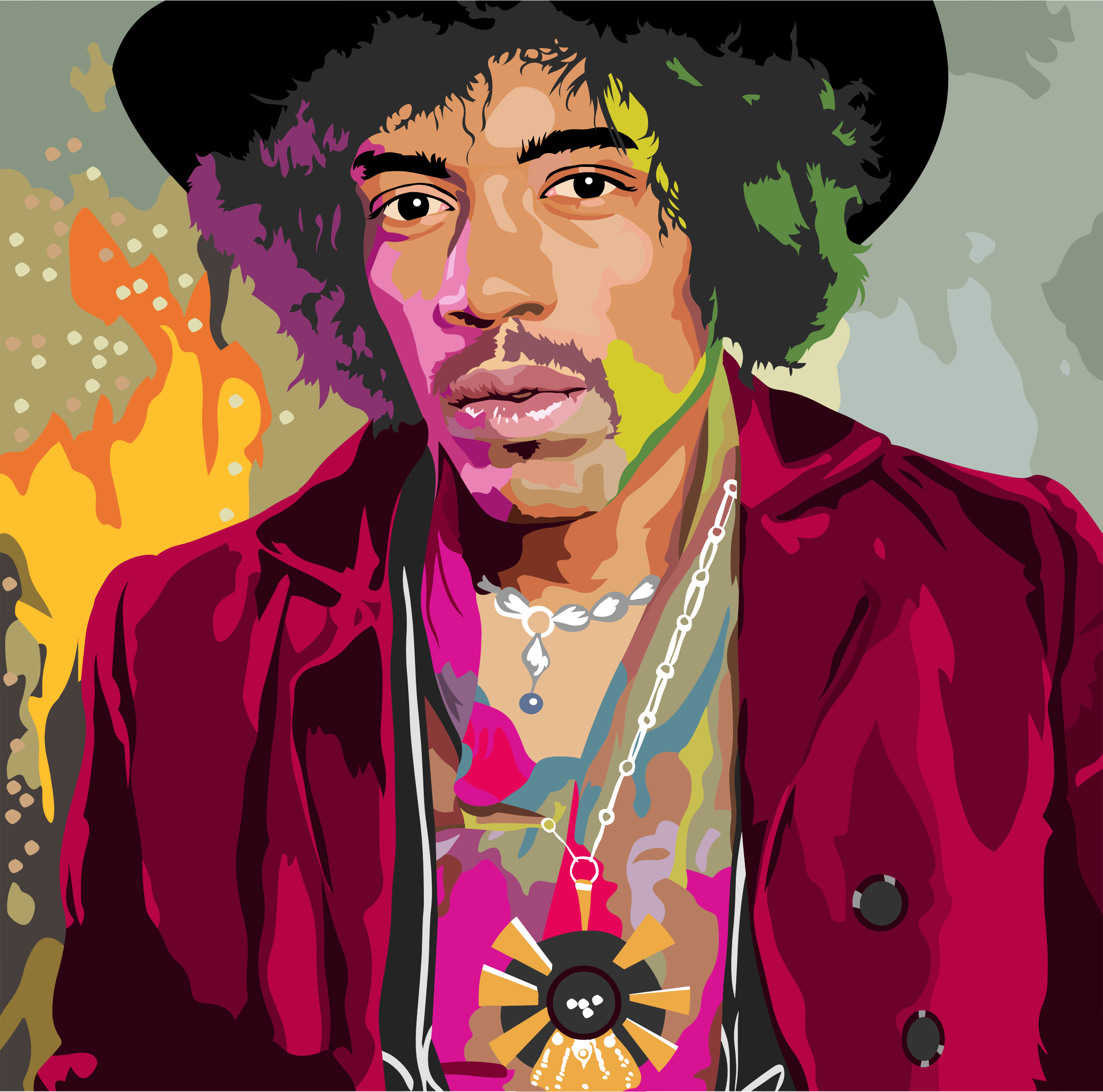 clipart colorful jimi hendrix portrait by heblo Cartoon Man clip art cartoon people asking questions