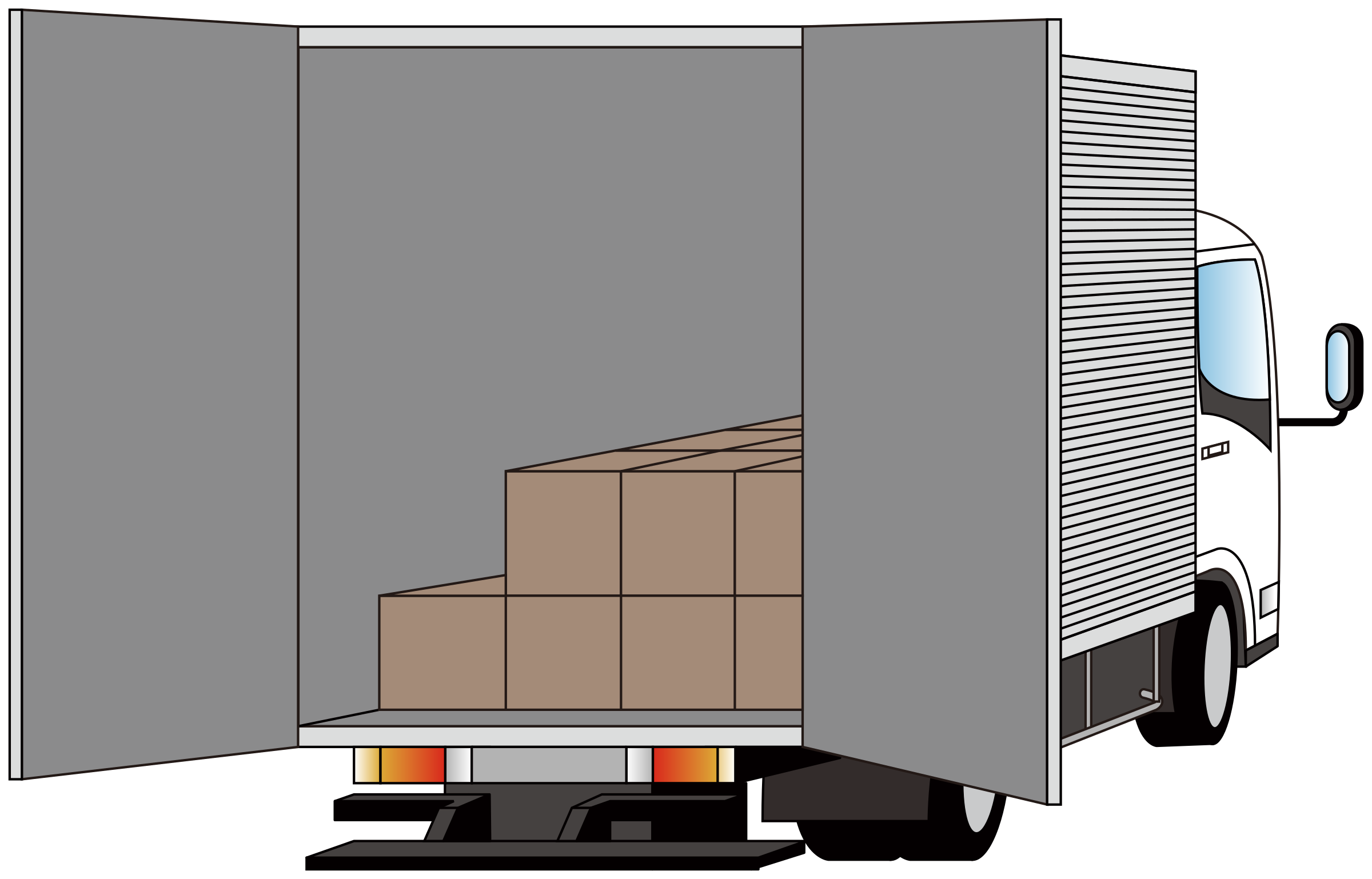 Delivery truck - rear side opened by Juhele