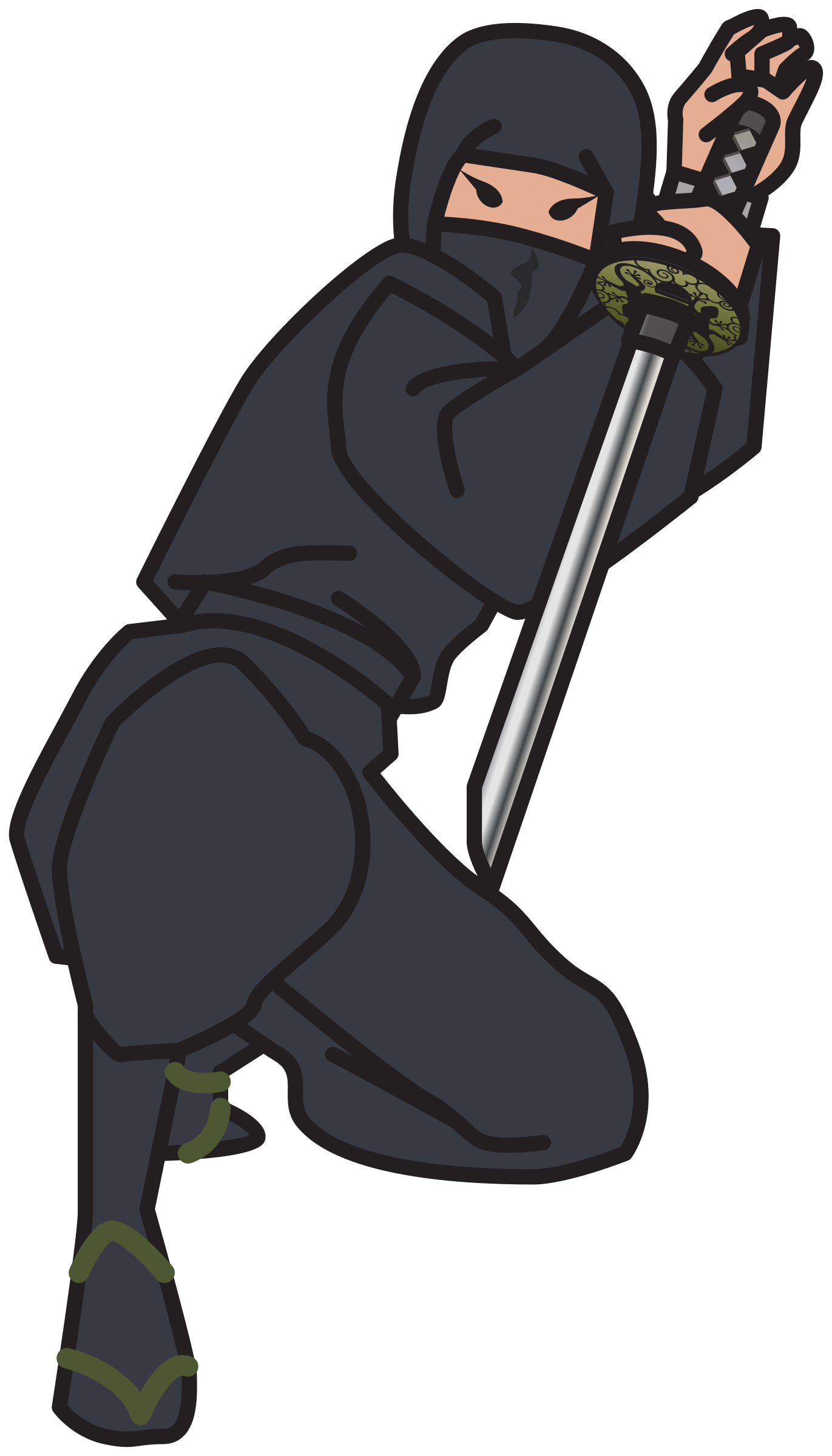 Ninja with a sword, attacking by Juhele