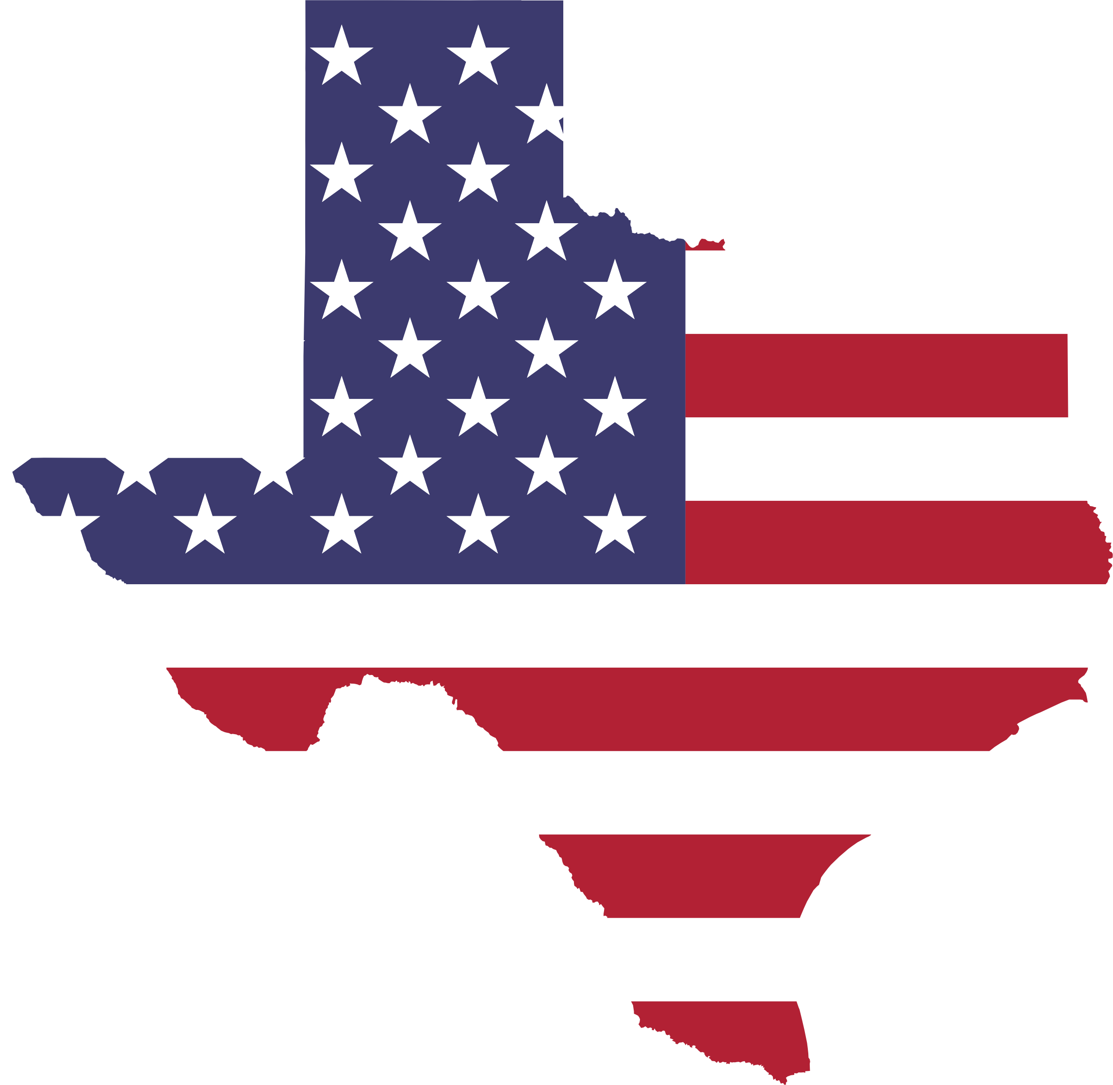 Clipart Texas American Flag Map No Stroke - Us map red png