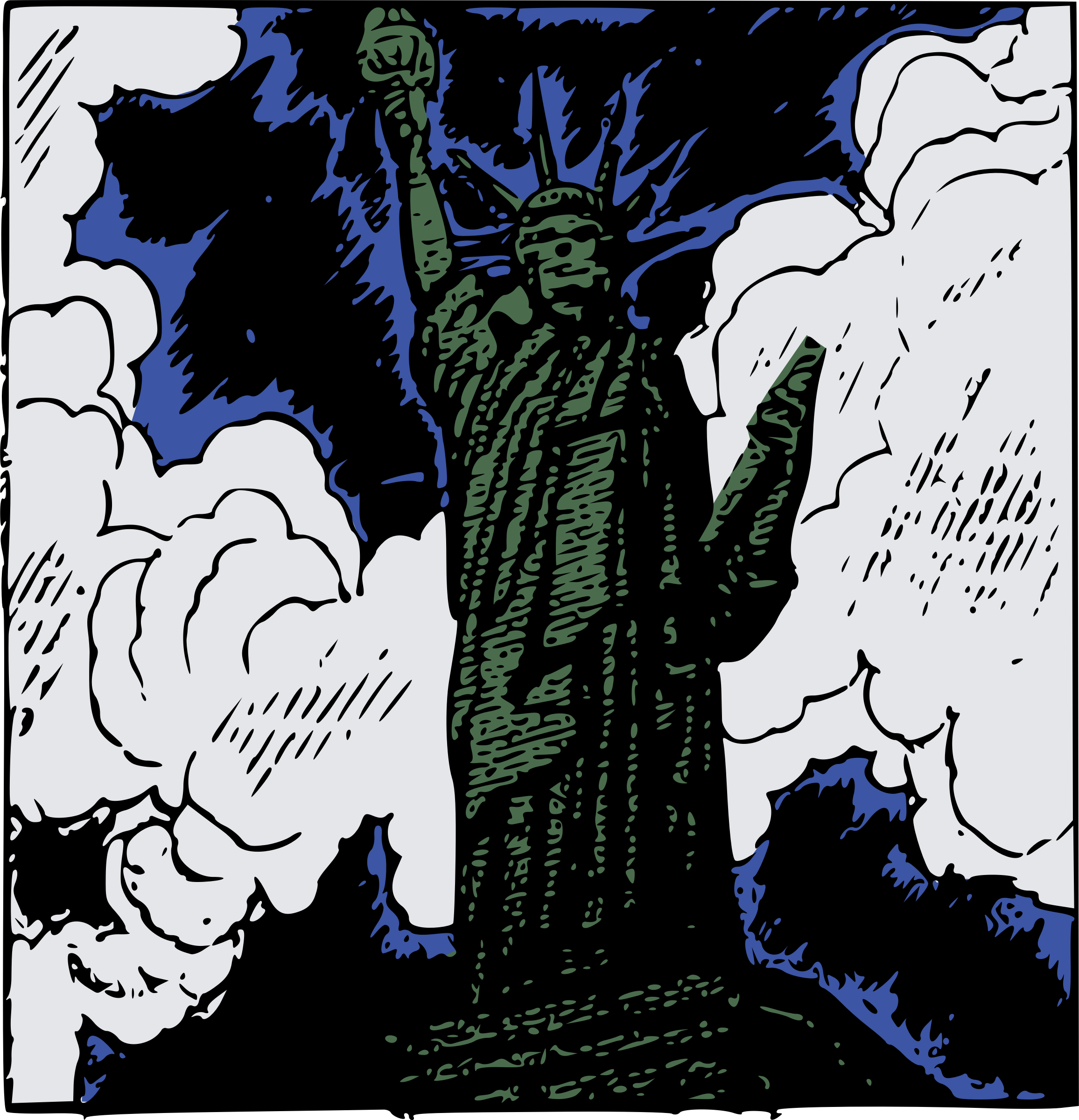 Statue of Liberty Cartoon by j4p4n