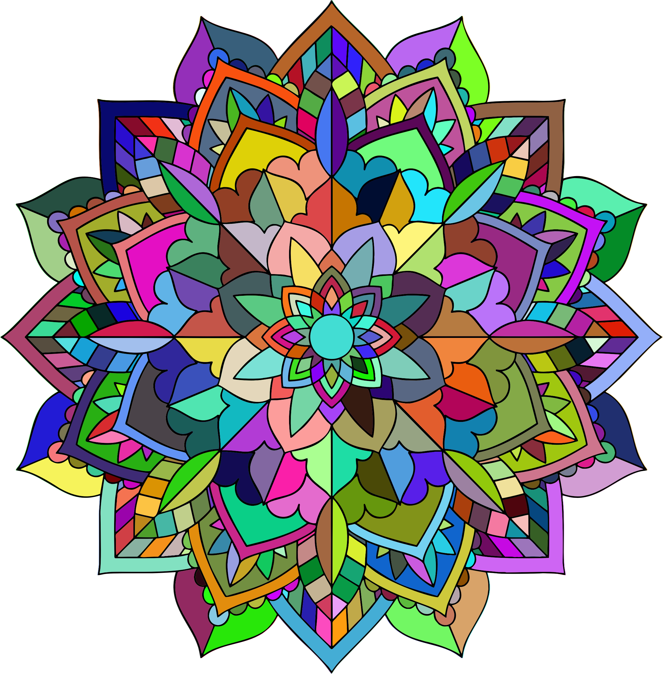 Prismatic Floral Mandala Line Art by GDJ