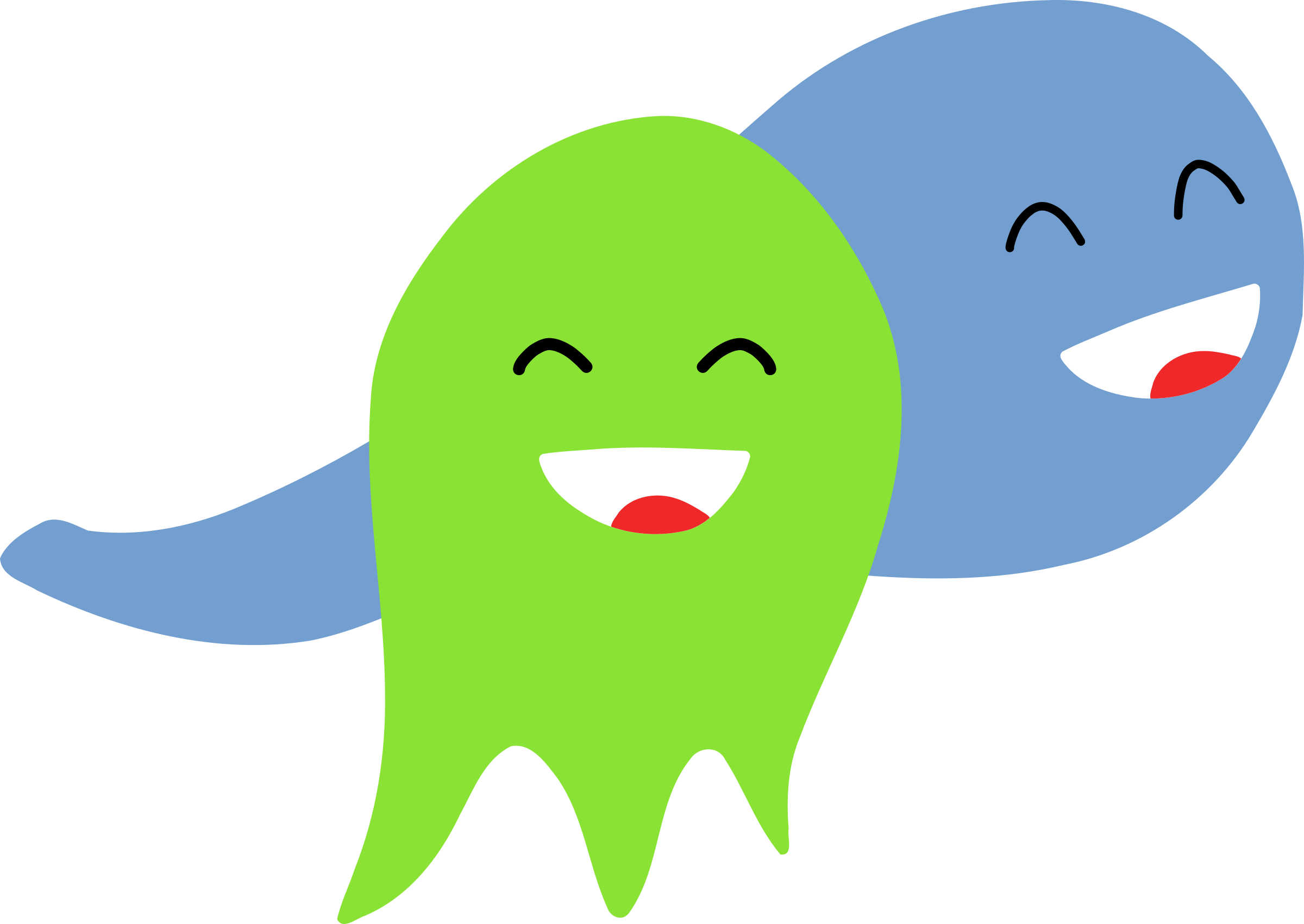 Two smiling ghosts by Kib