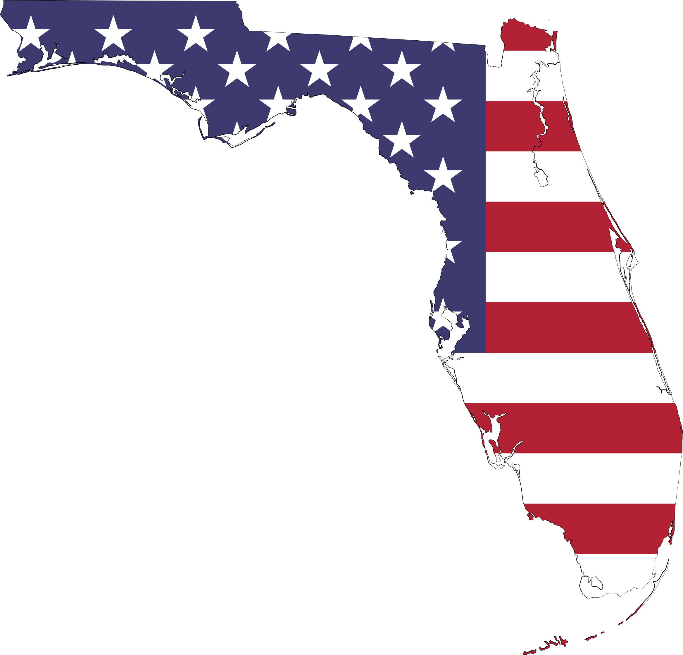 Florida America Flag Map With Stroke by GDJ