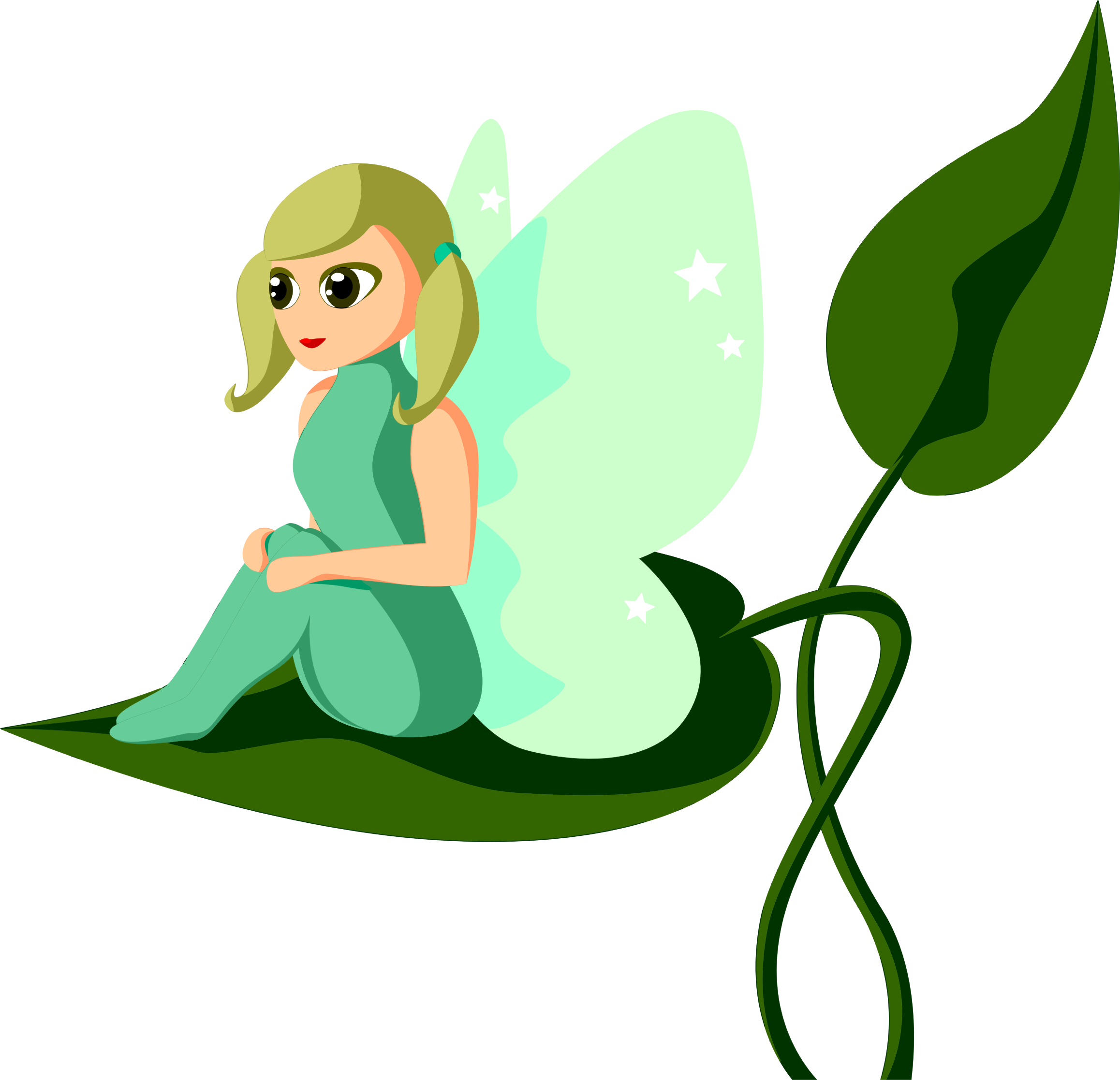 Female Fairy Sitting On Leaf by GDJ
