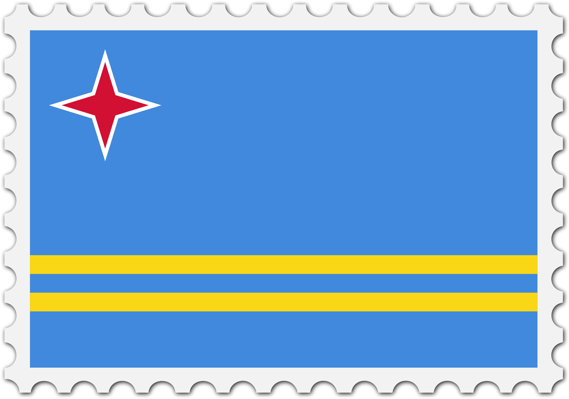 Aruba flag stamp by Firkin