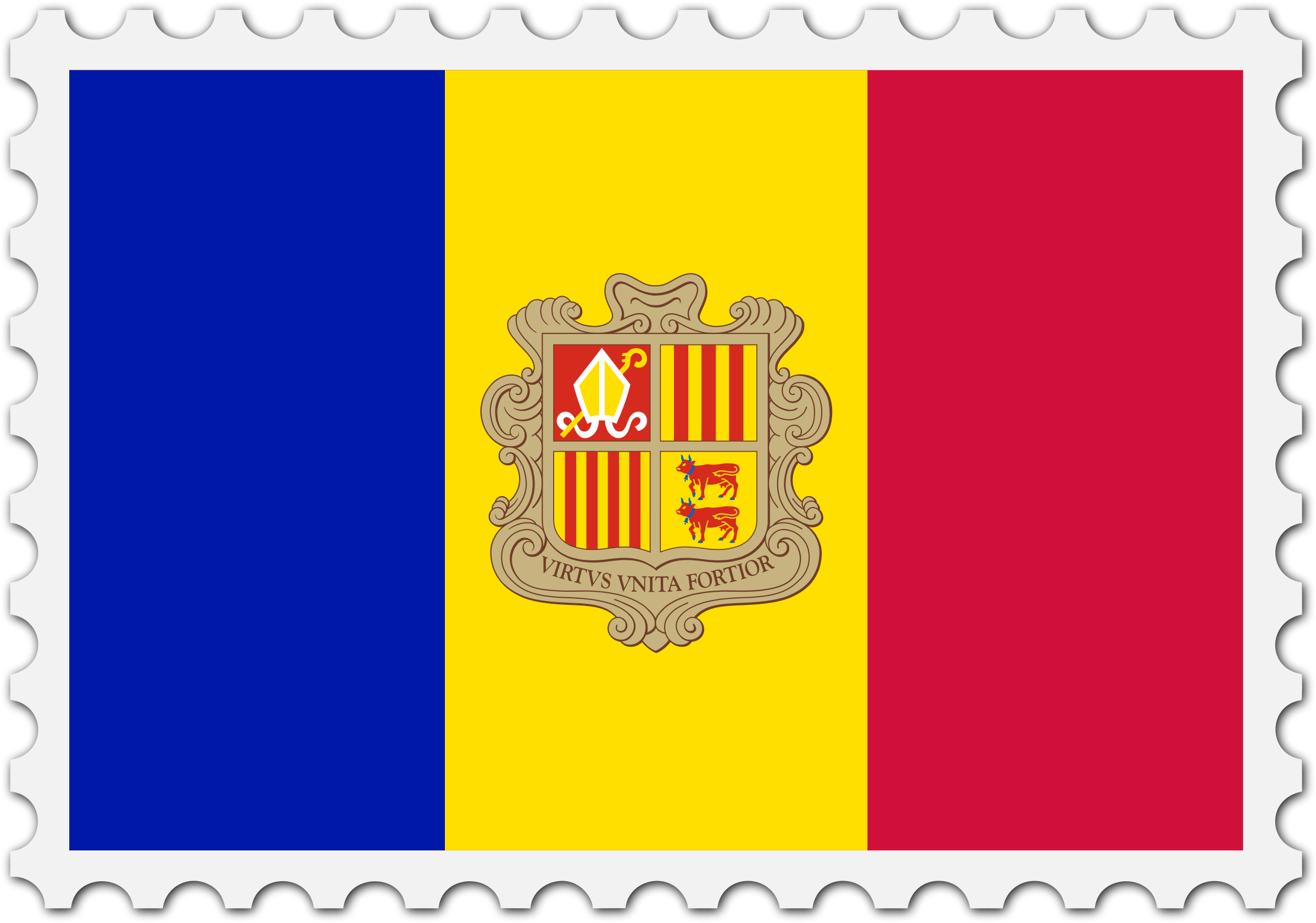 Andorra flag stamp by Firkin