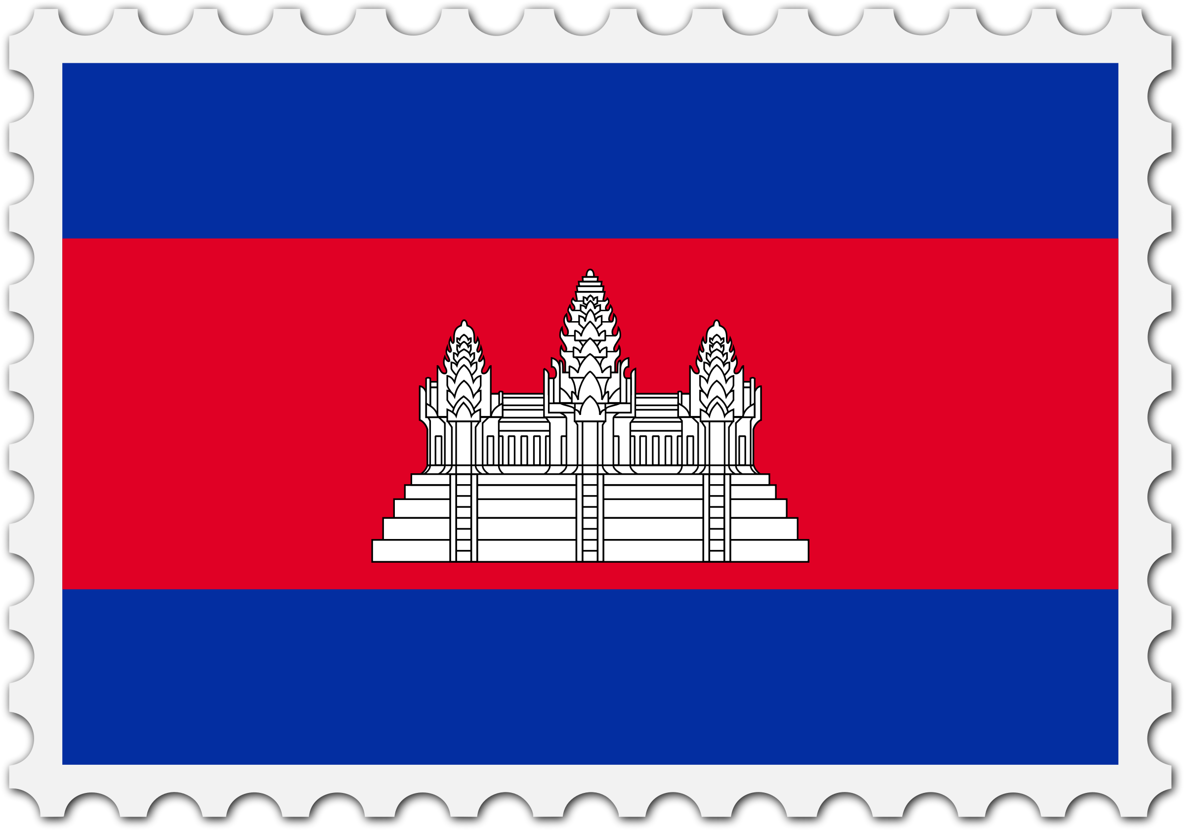 Cambodia flag stamp by Firkin