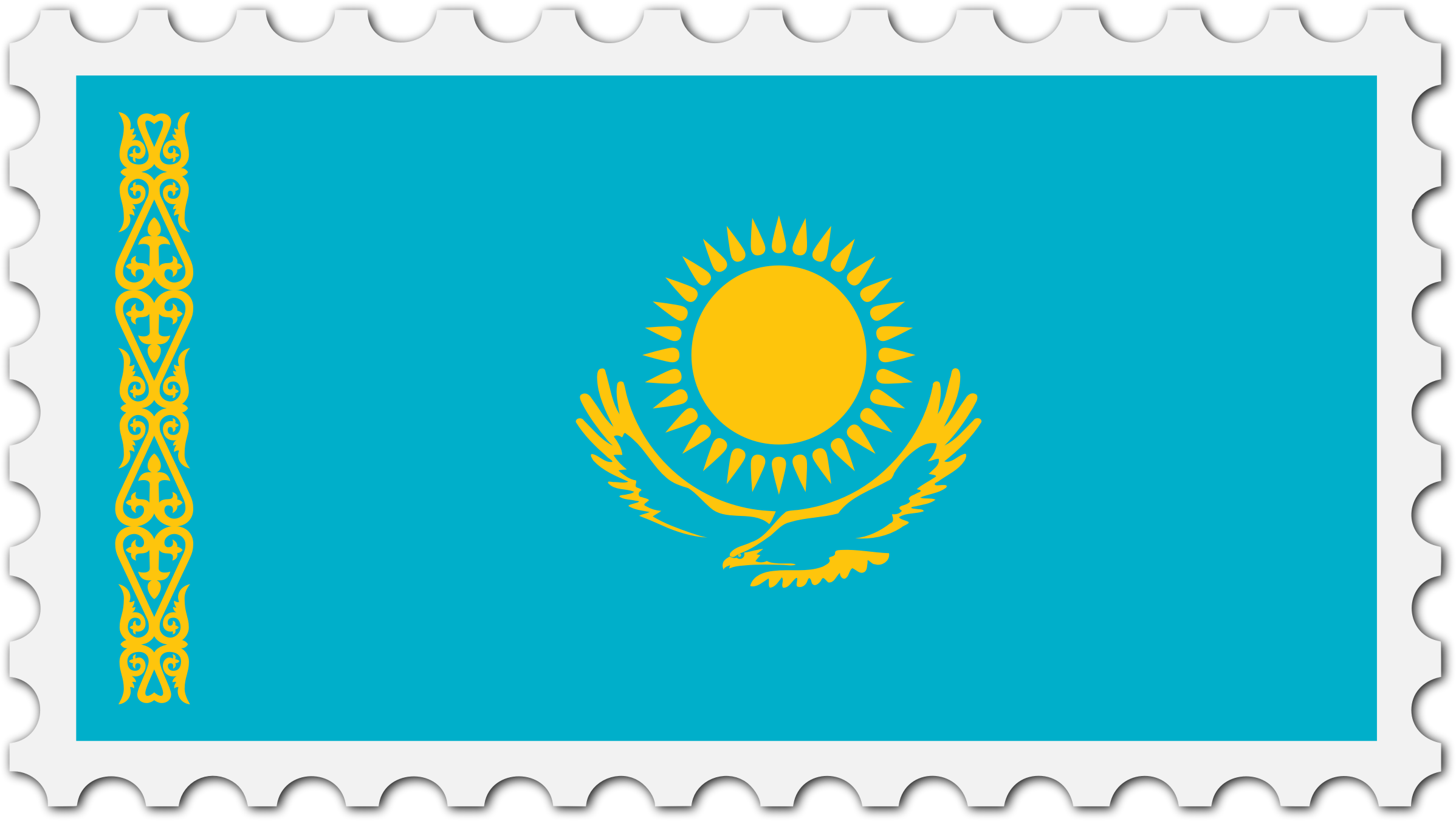 Kazakhstan flag stamp by Firkin