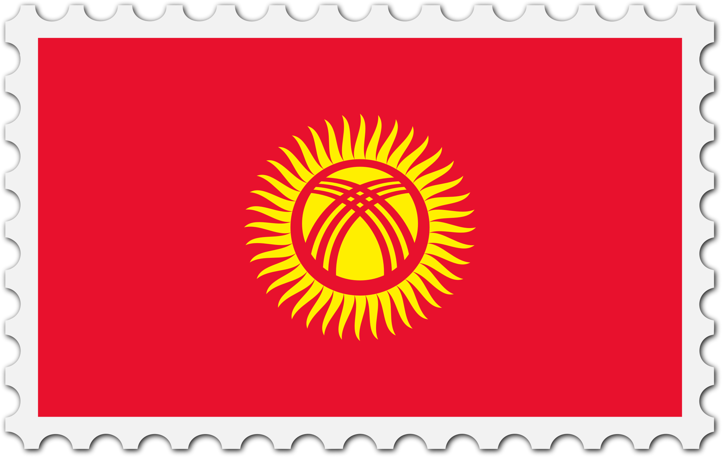 Kyrgyzstan flag stamp by Firkin