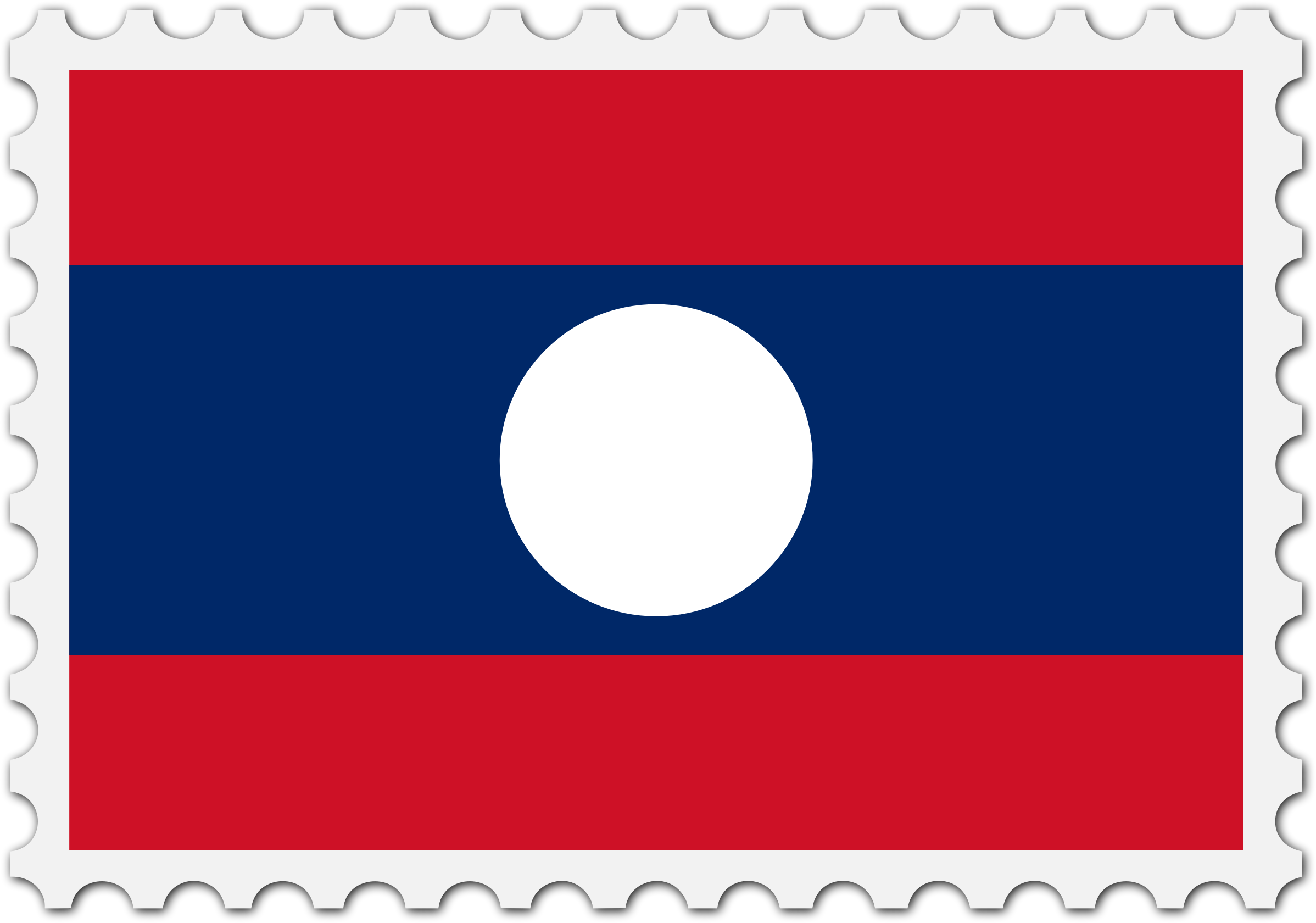 Laos flag stamp by Firkin