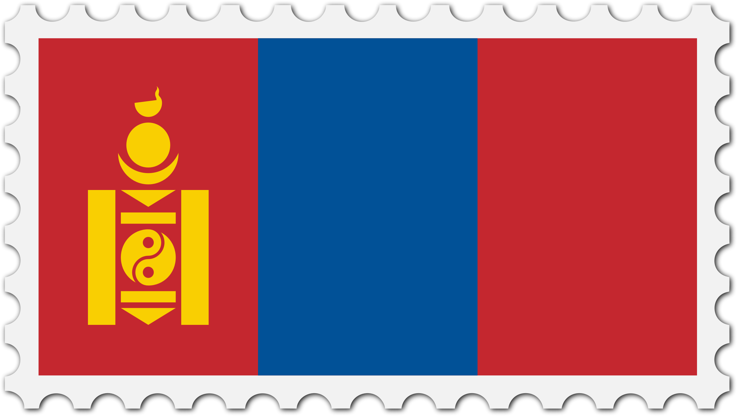 Mongolia flag stamp by Firkin