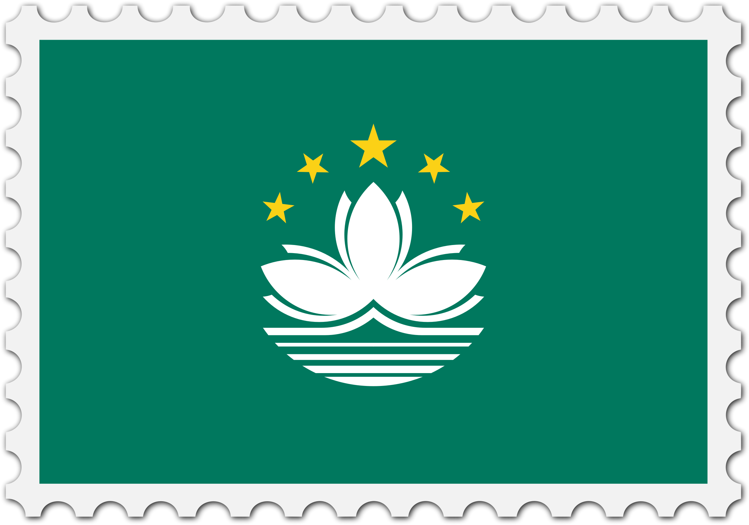 Macau flag stamp by Firkin