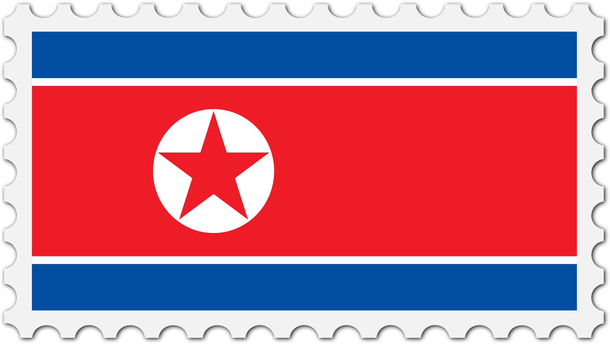 North Korea flag stamp by Firkin