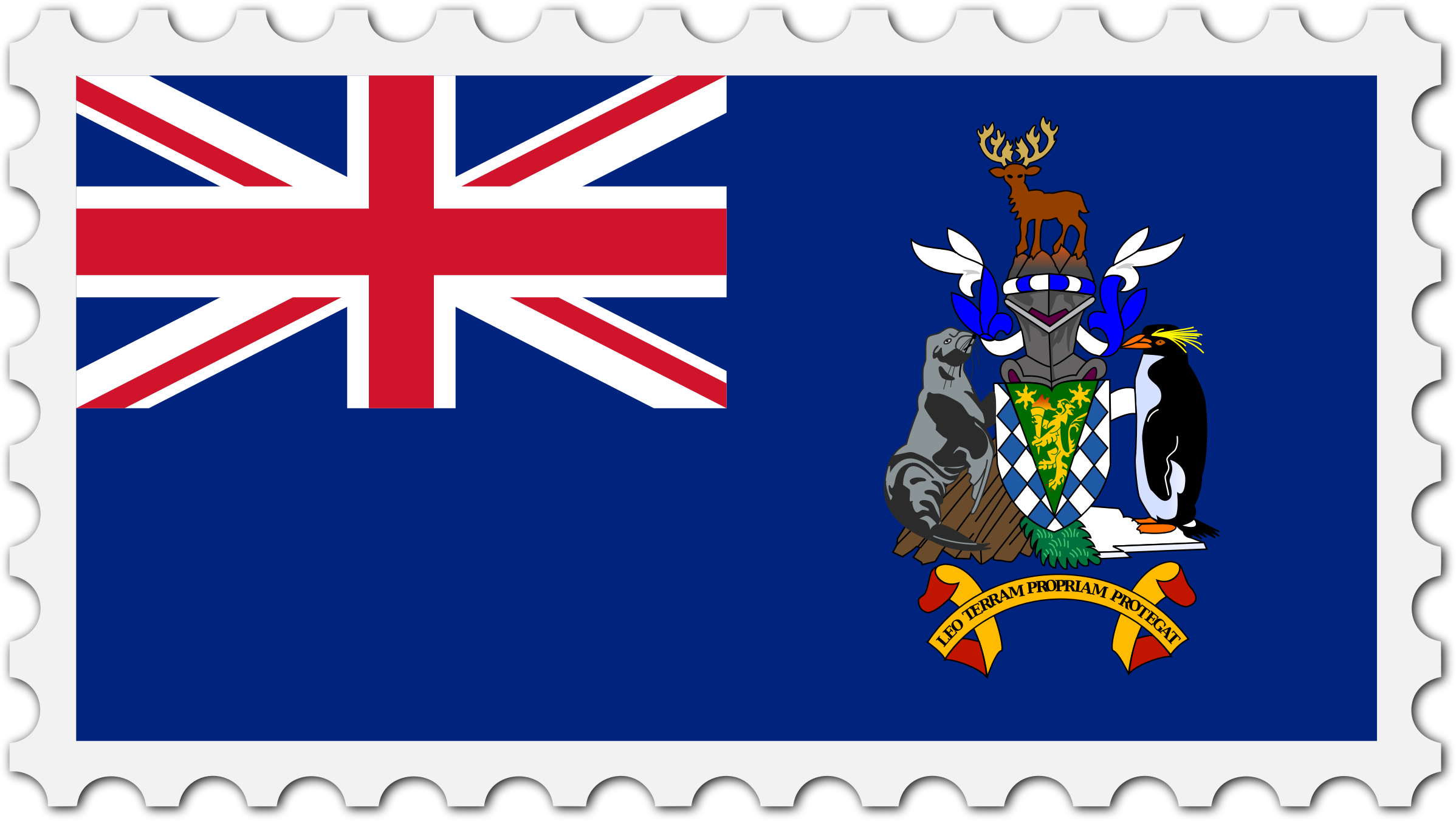 South Georgia and the Sandwich Islands flag stamp by Firkin