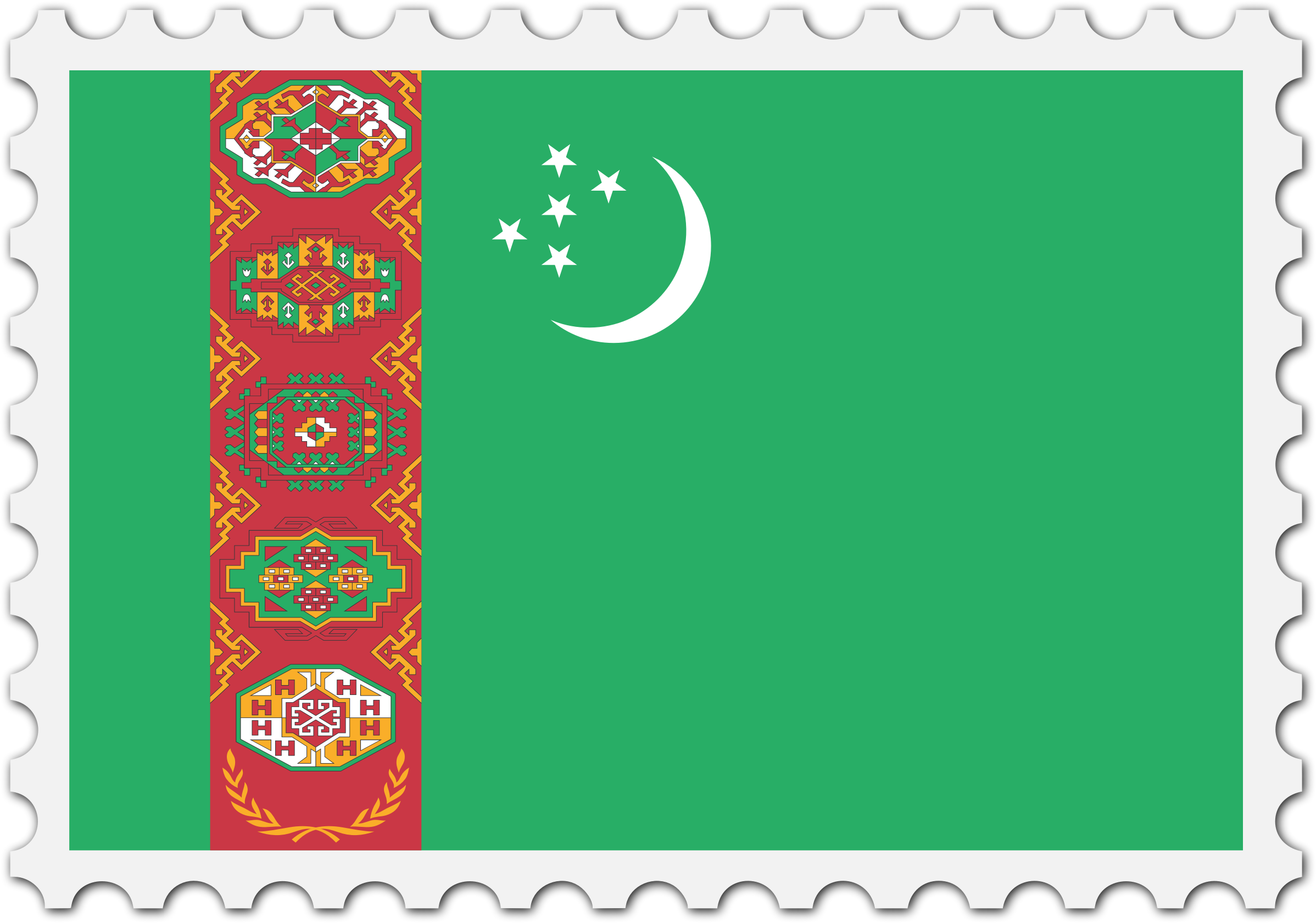 Turkmenistan flag stamp by Firkin