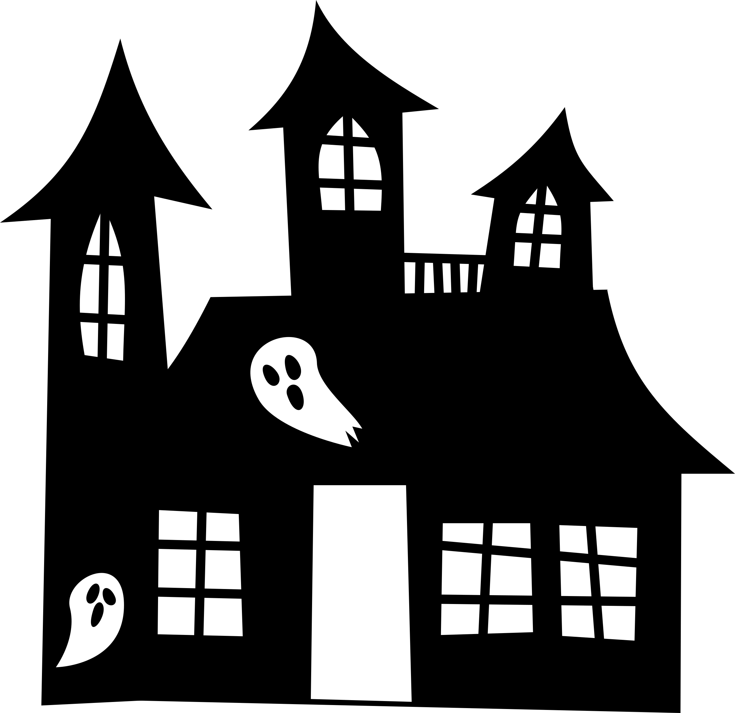 Haunted house silhouette by spacefem