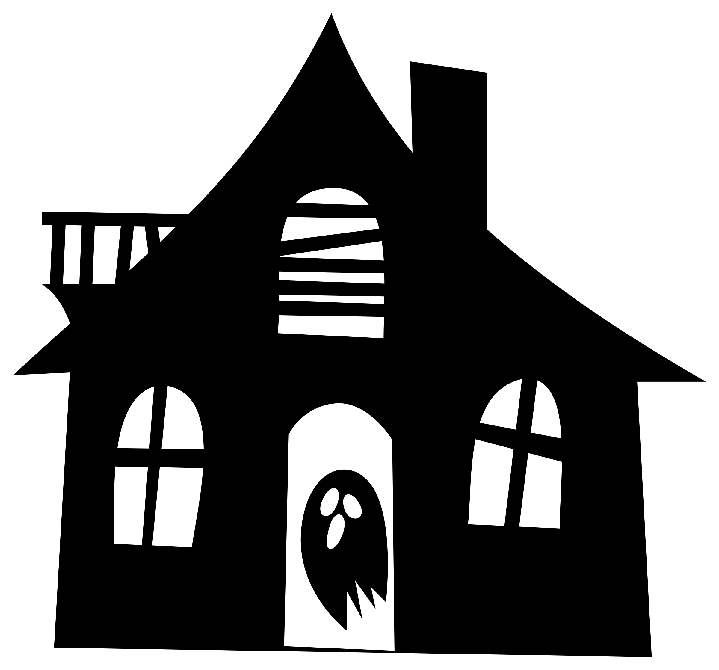 clipart haunted house silhouette