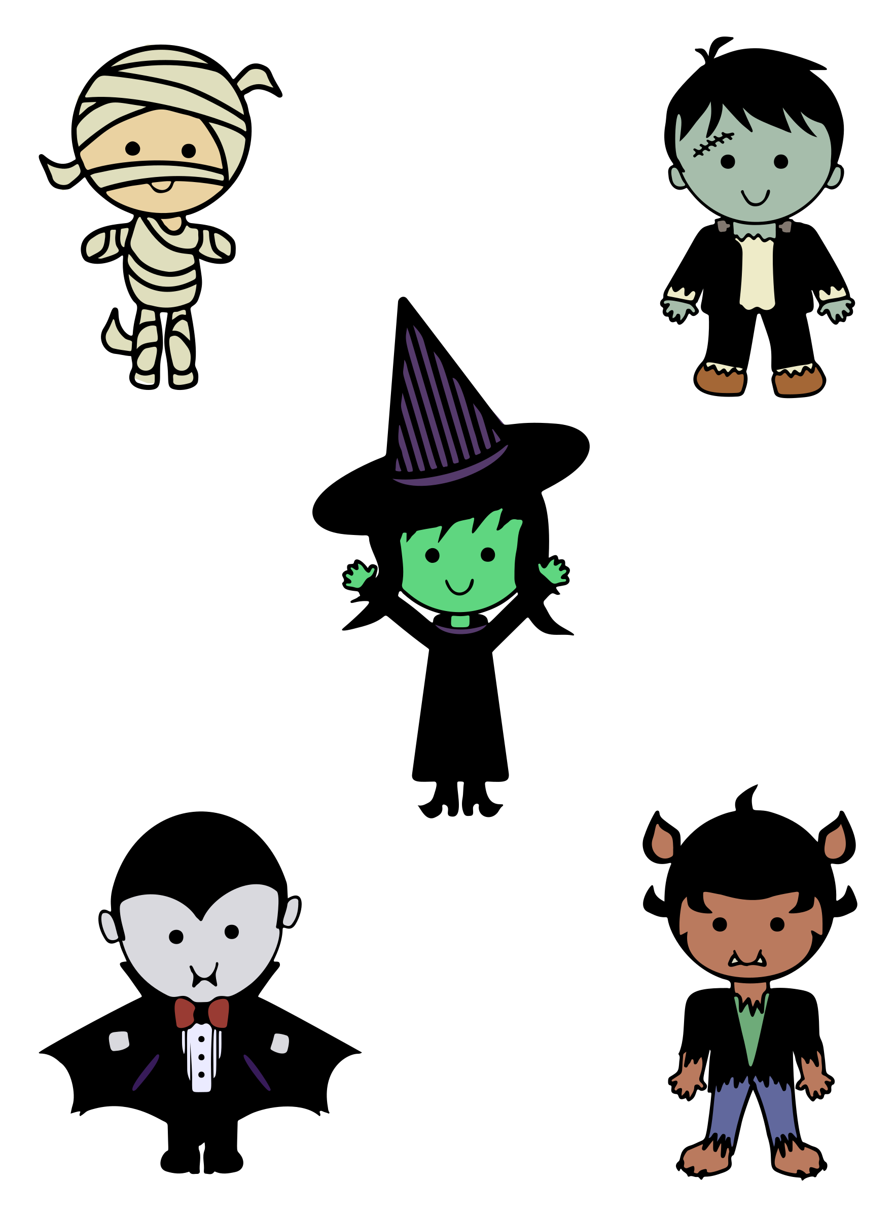 Clipart - Classic Halloween Monsters - Colour