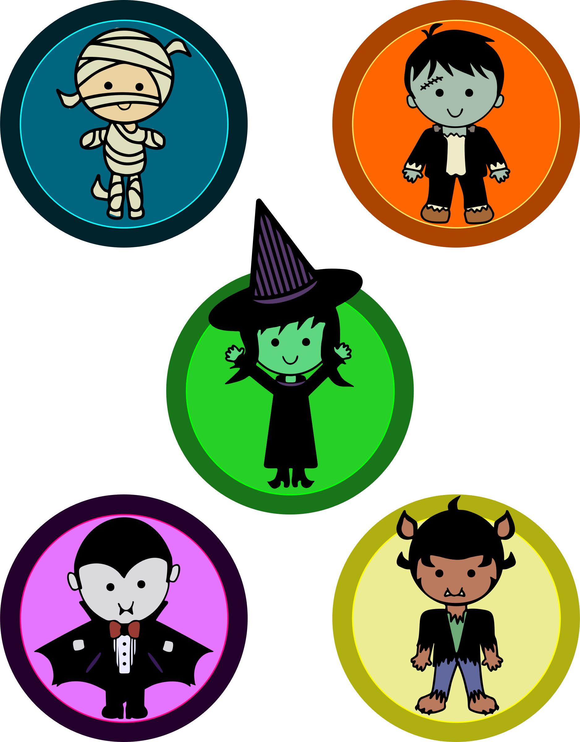 Cute Halloween Monster Badges by uroesch