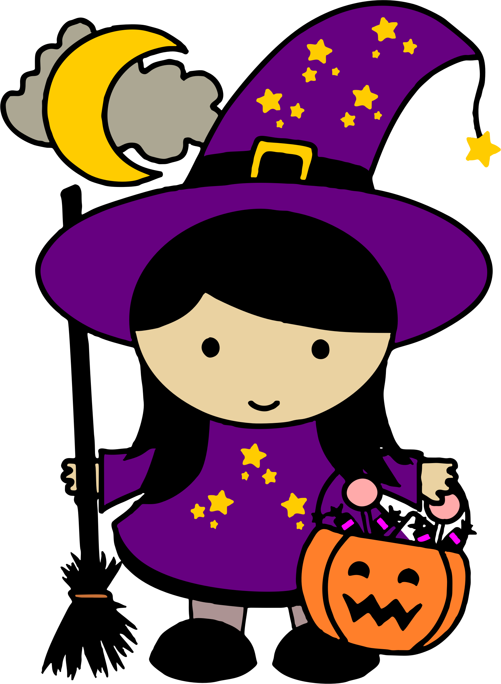 clipart - cute halloween witch - colored