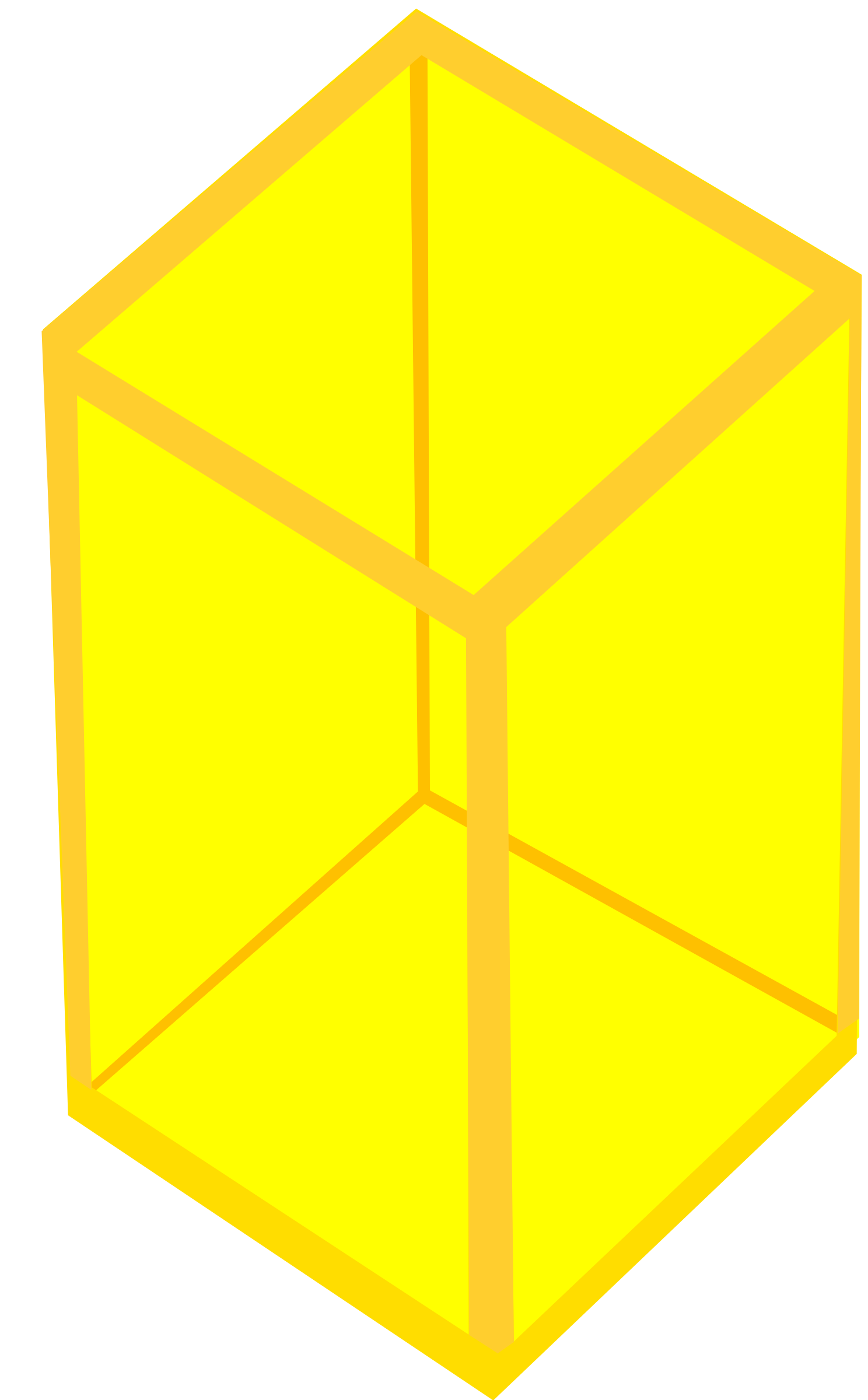 Yellow Transparent Cube by Rfc1394