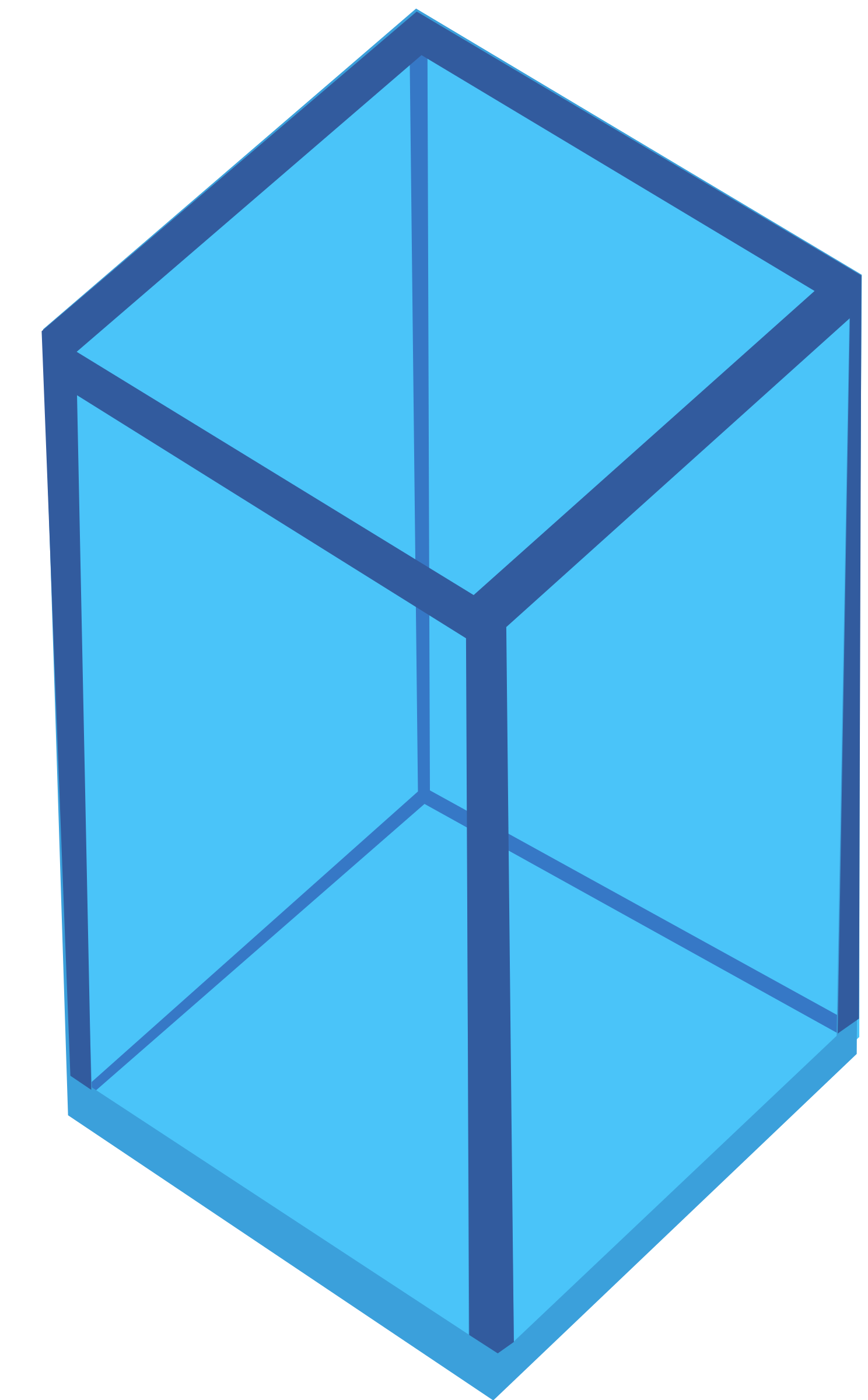 Cyan Transparent Cube by Rfc1394