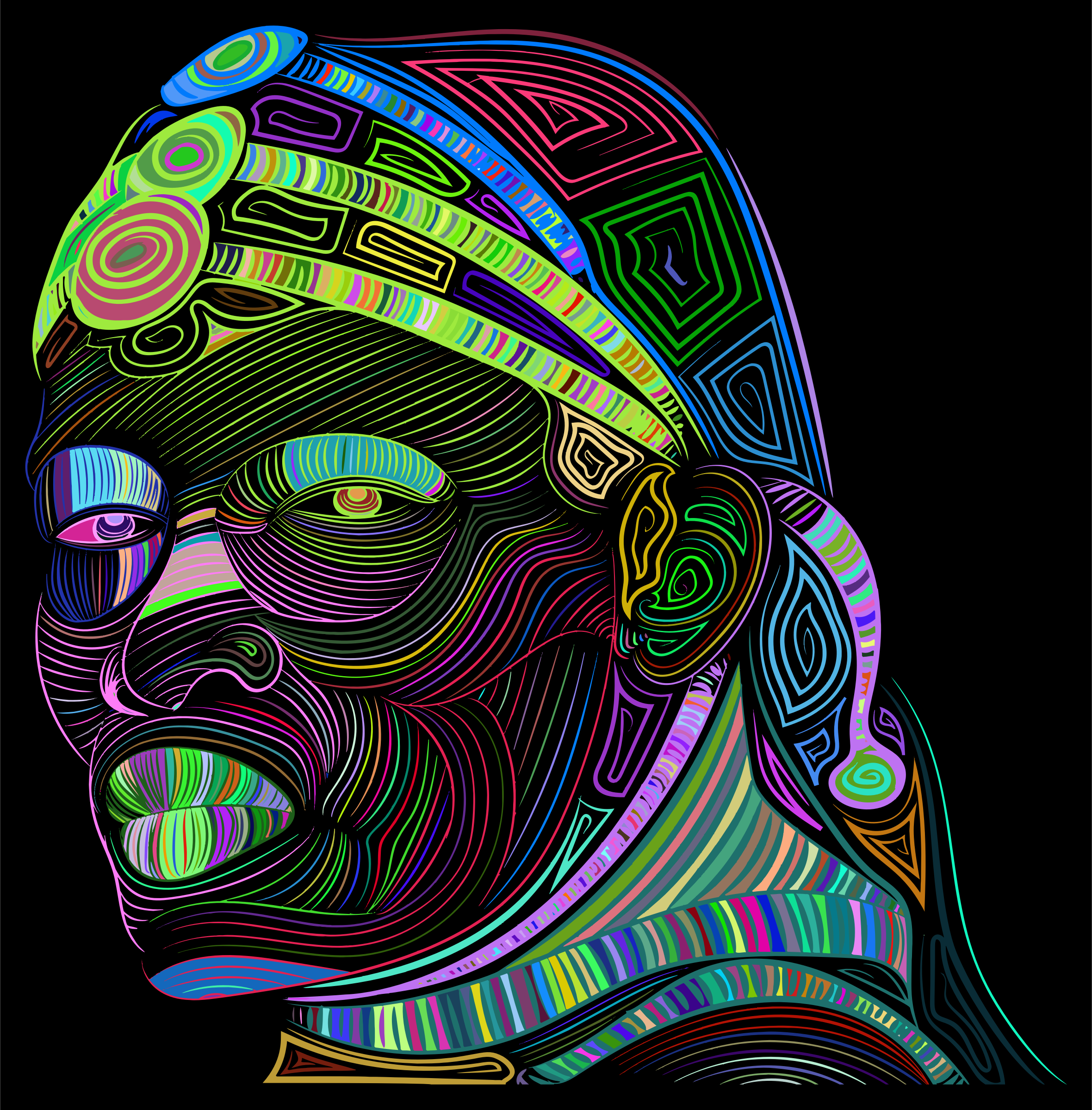Maasai Man Line Art Prismatic by GDJ
