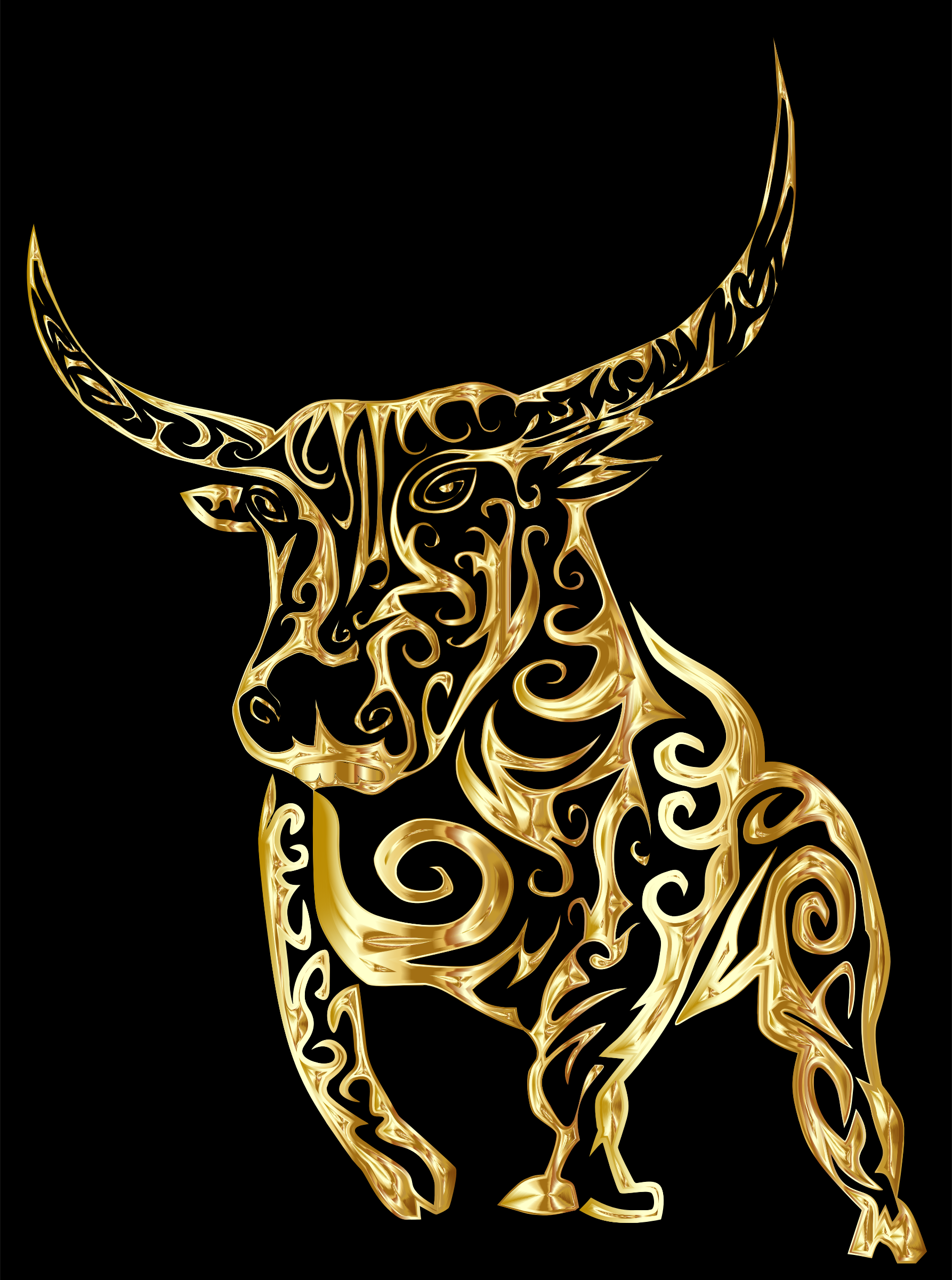 Tribal Bull Line Art Gold With Background by GDJ