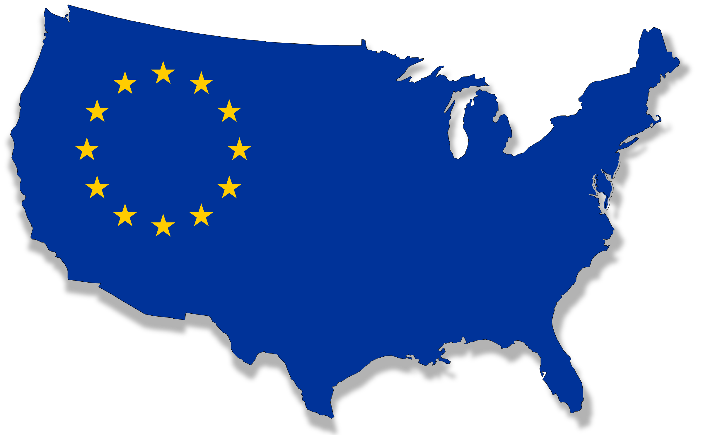 Clipart USEurope Flag Map - Map of us and europe