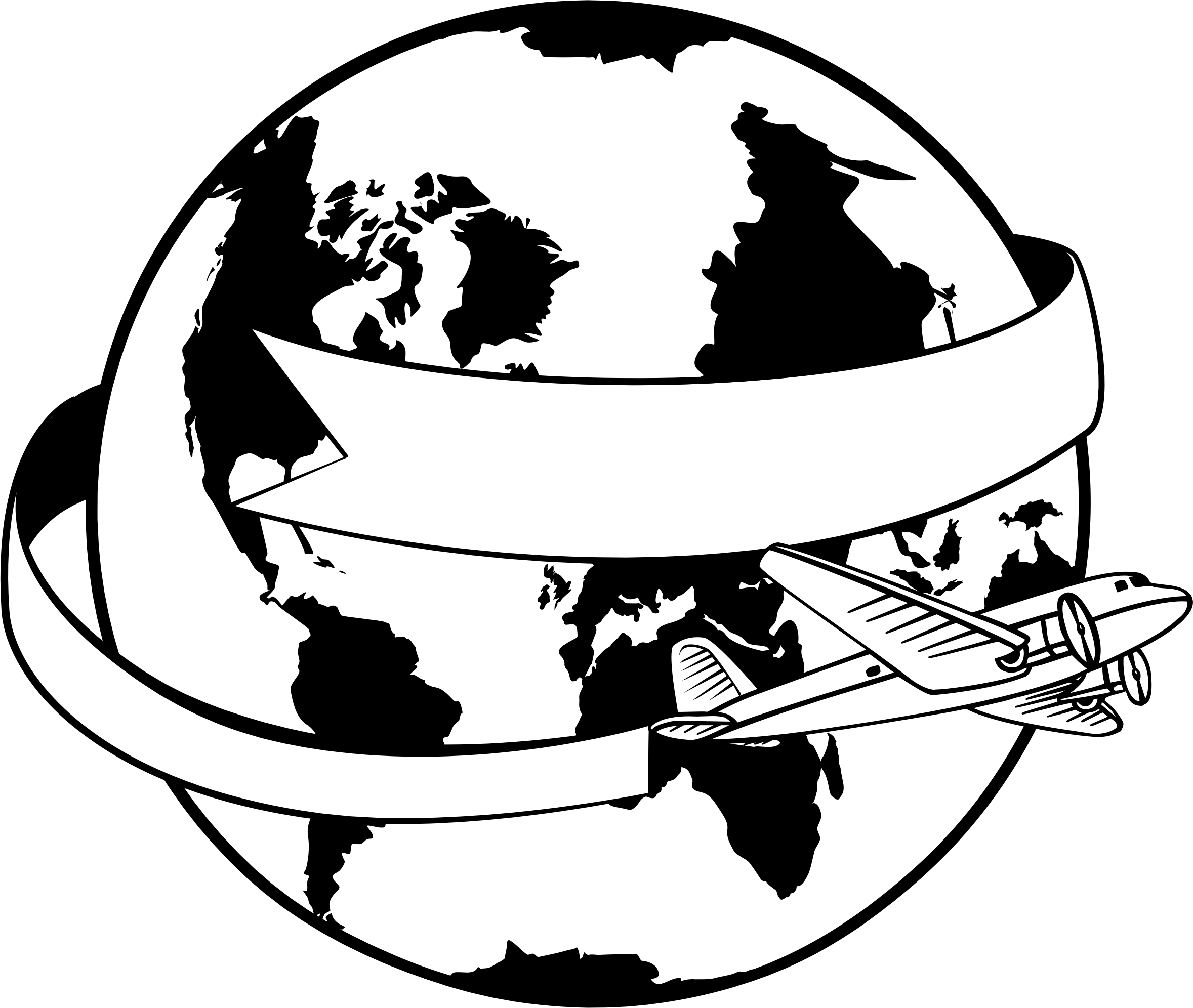 Line Art Earth : Clipart around the world banner