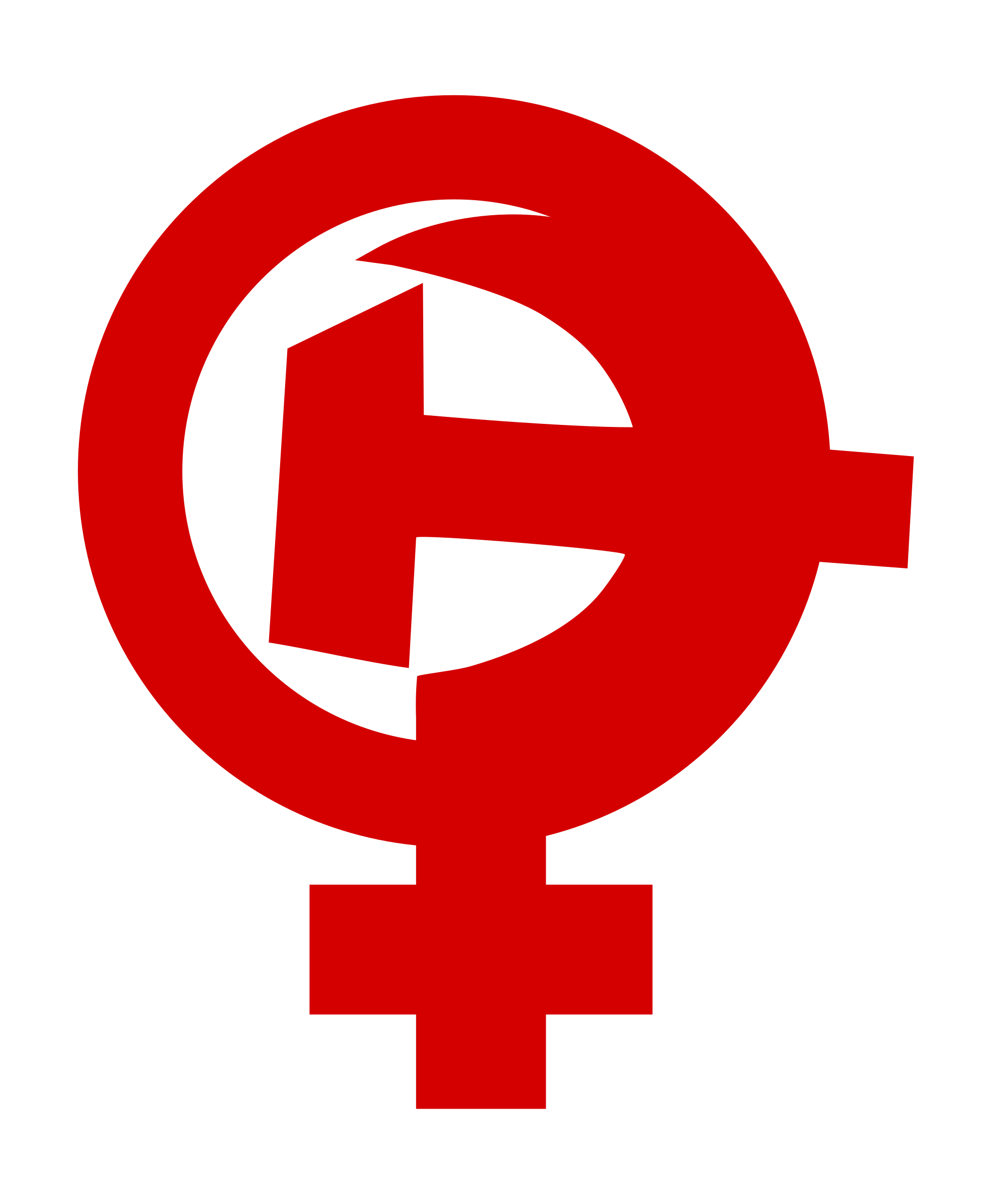 Feminism Hammer Sickle female symbol by worker