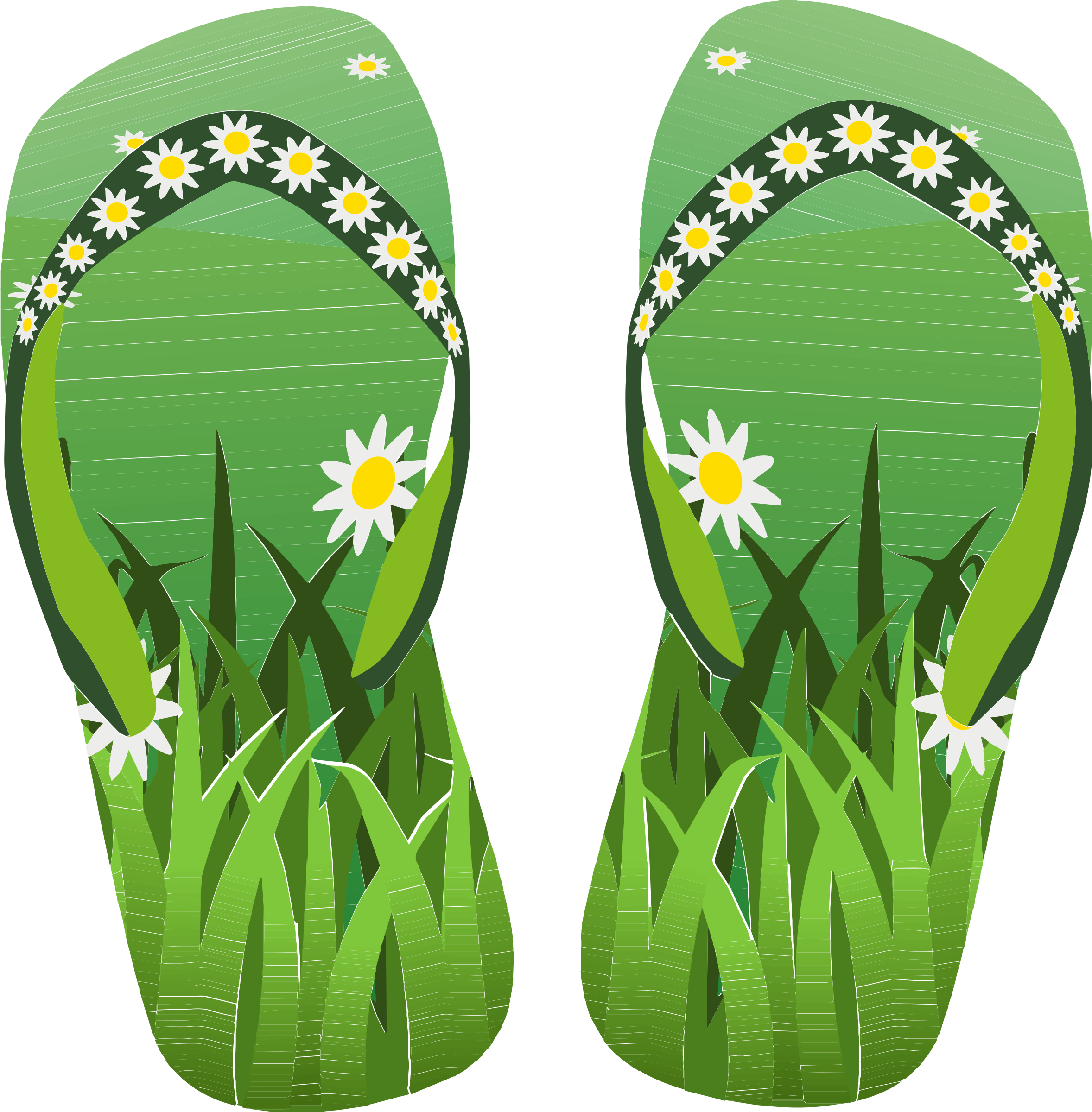Thong Green With Grass and Flowers Remake by uscustomstickers