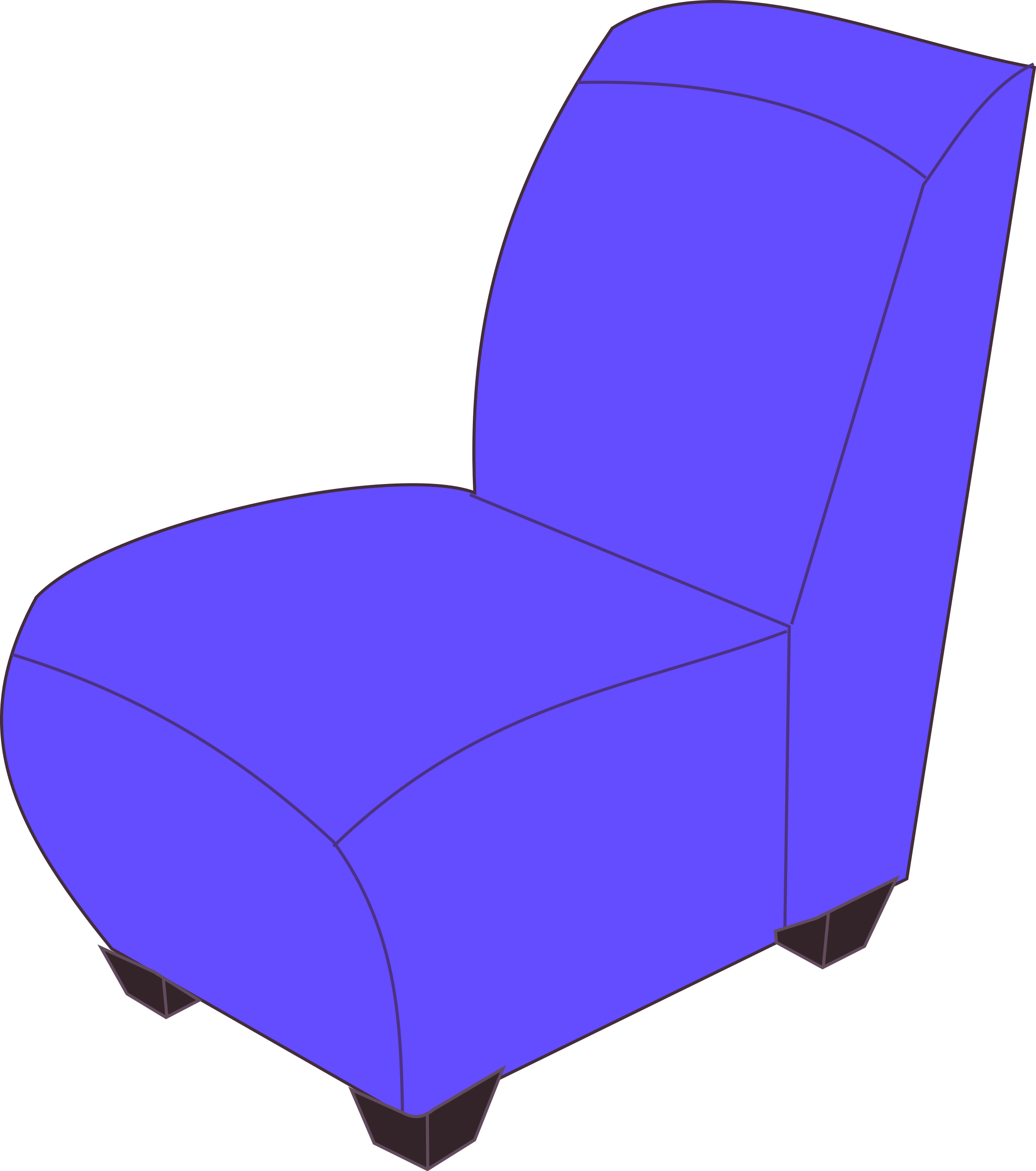 Blue armless chair by Rfc1394