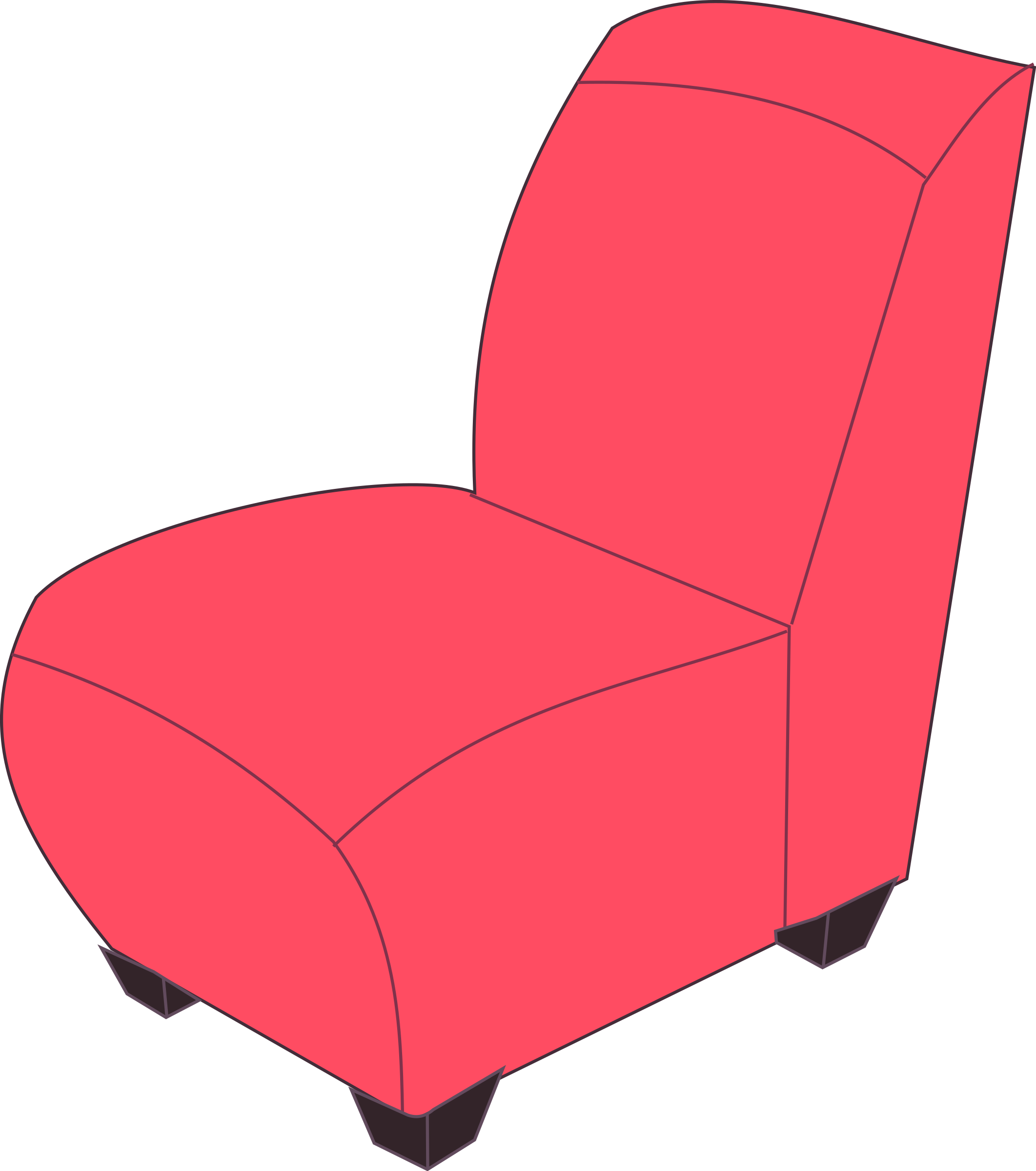 Red armless chair by Rfc1394