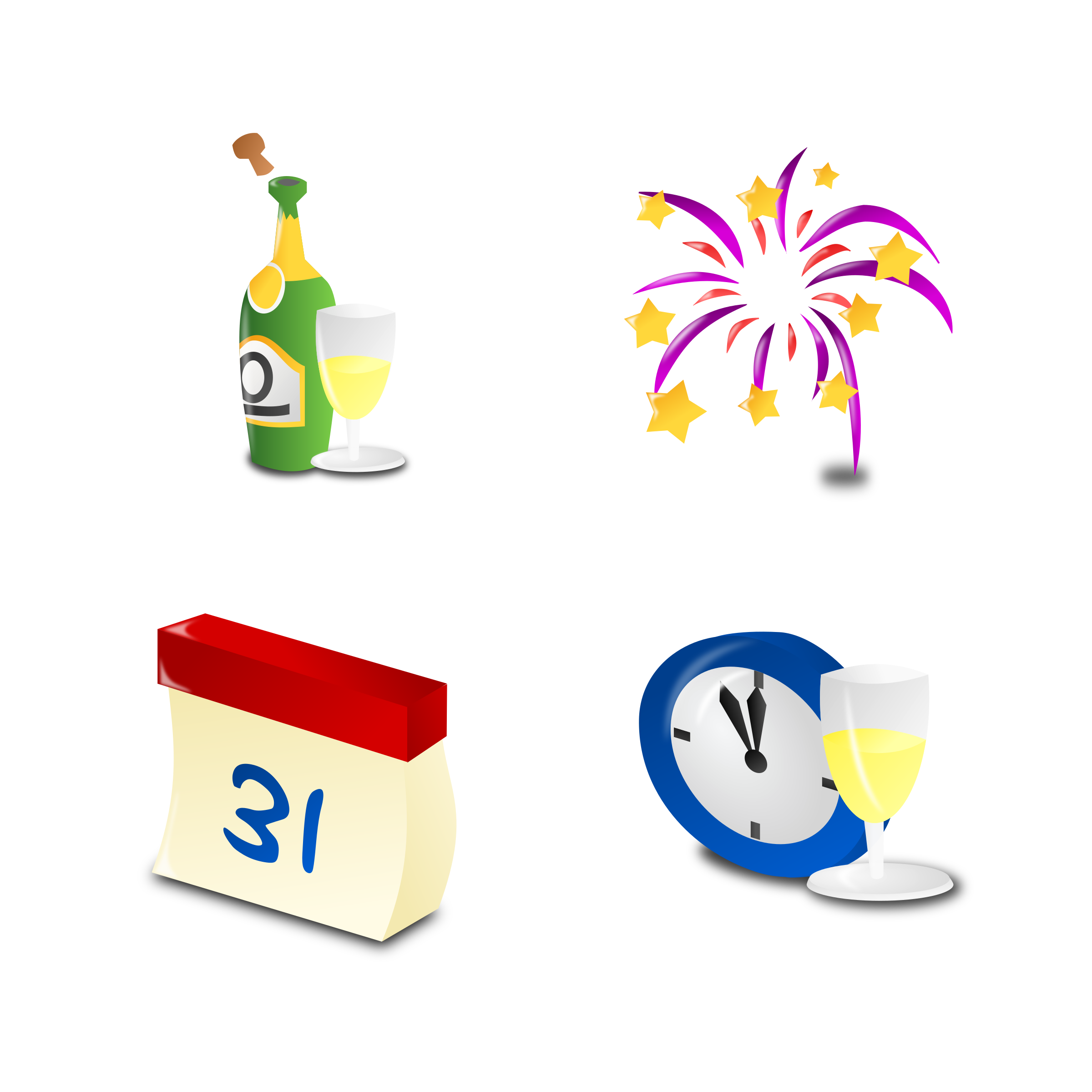 New Year's Icon Set Collection by mvolz