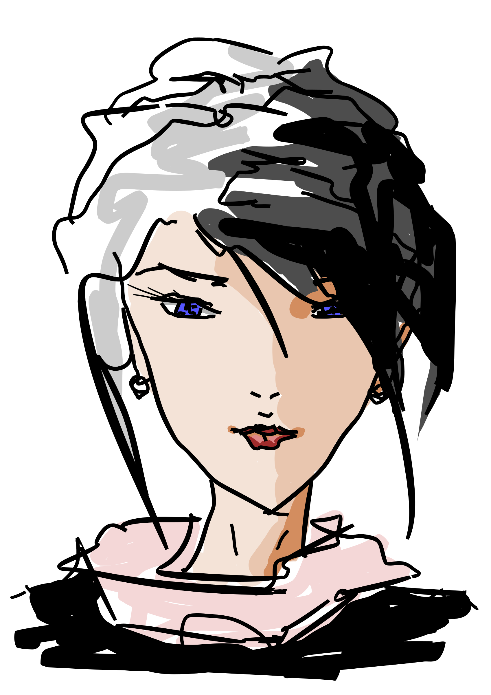Woman Face Line Drawing Png : Clipart drawn woman s face