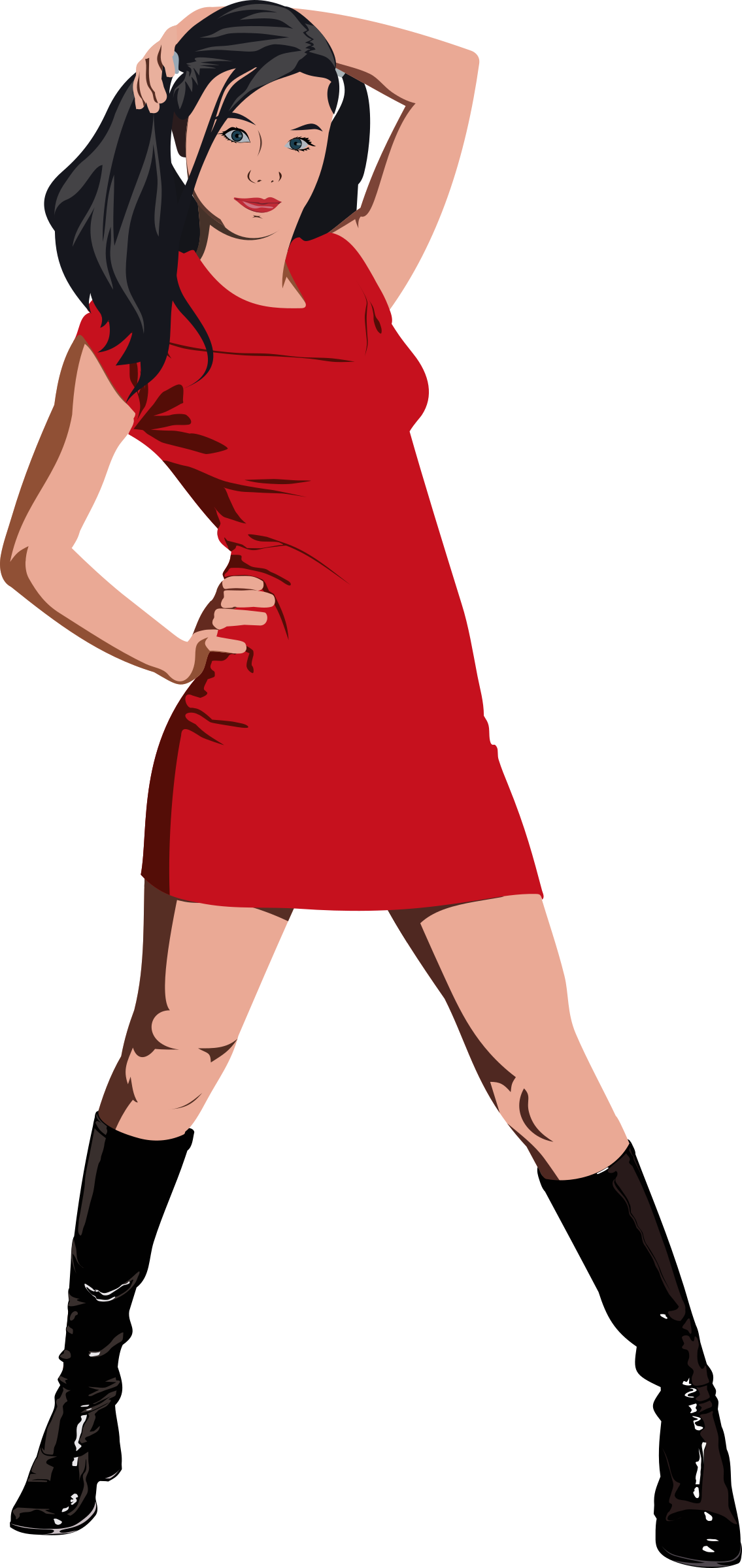 clipart girl in red dress