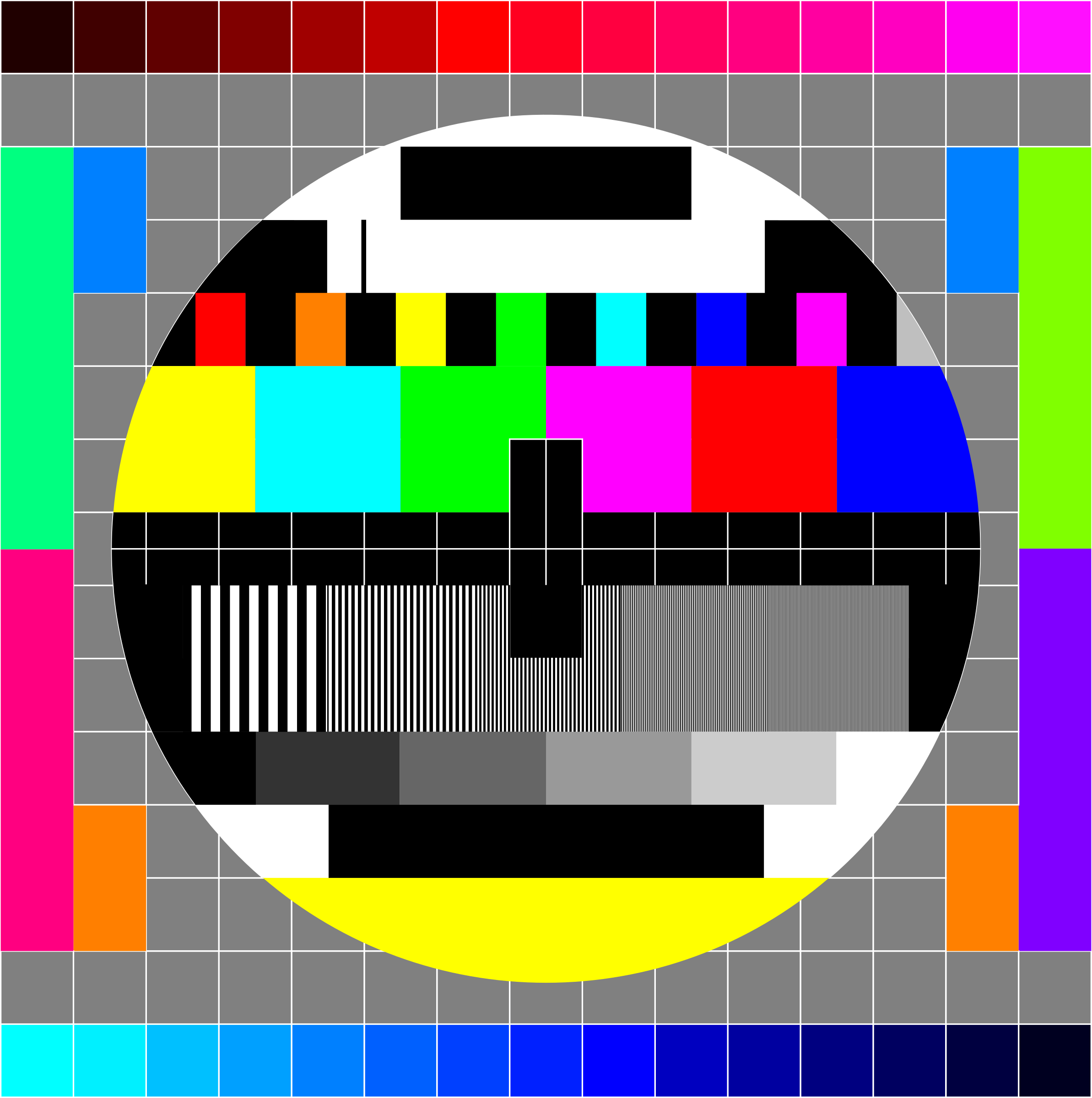 TV Testscreen square shape with some more colors by Manuela.