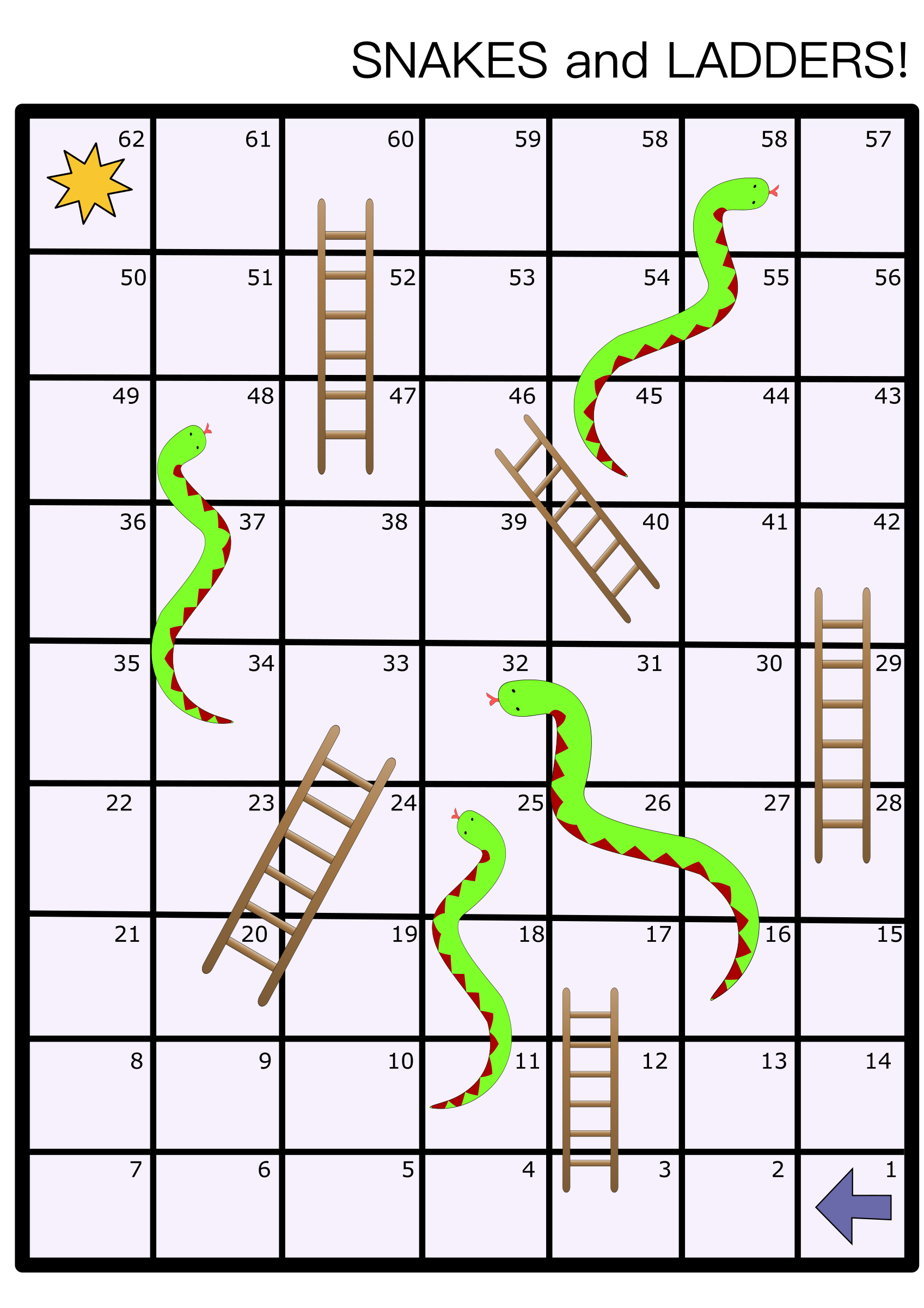 Clipart snakes and ladders board game for Snakes and ladders printable template