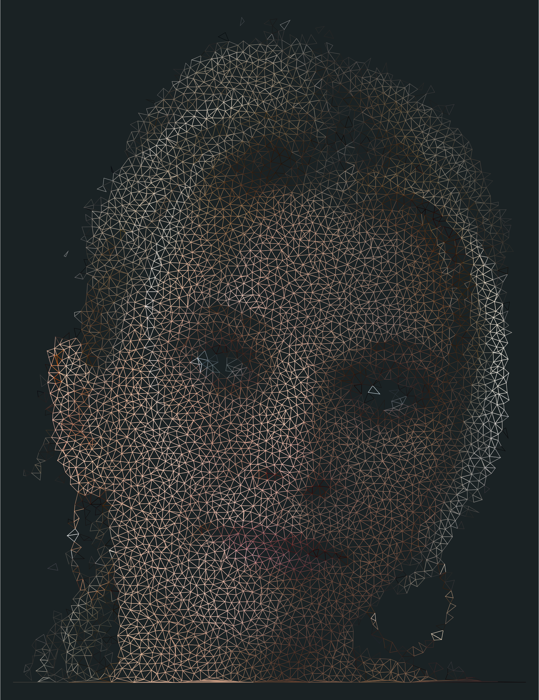 High Poly Blonde Woman Portrait Wireframe by GDJ