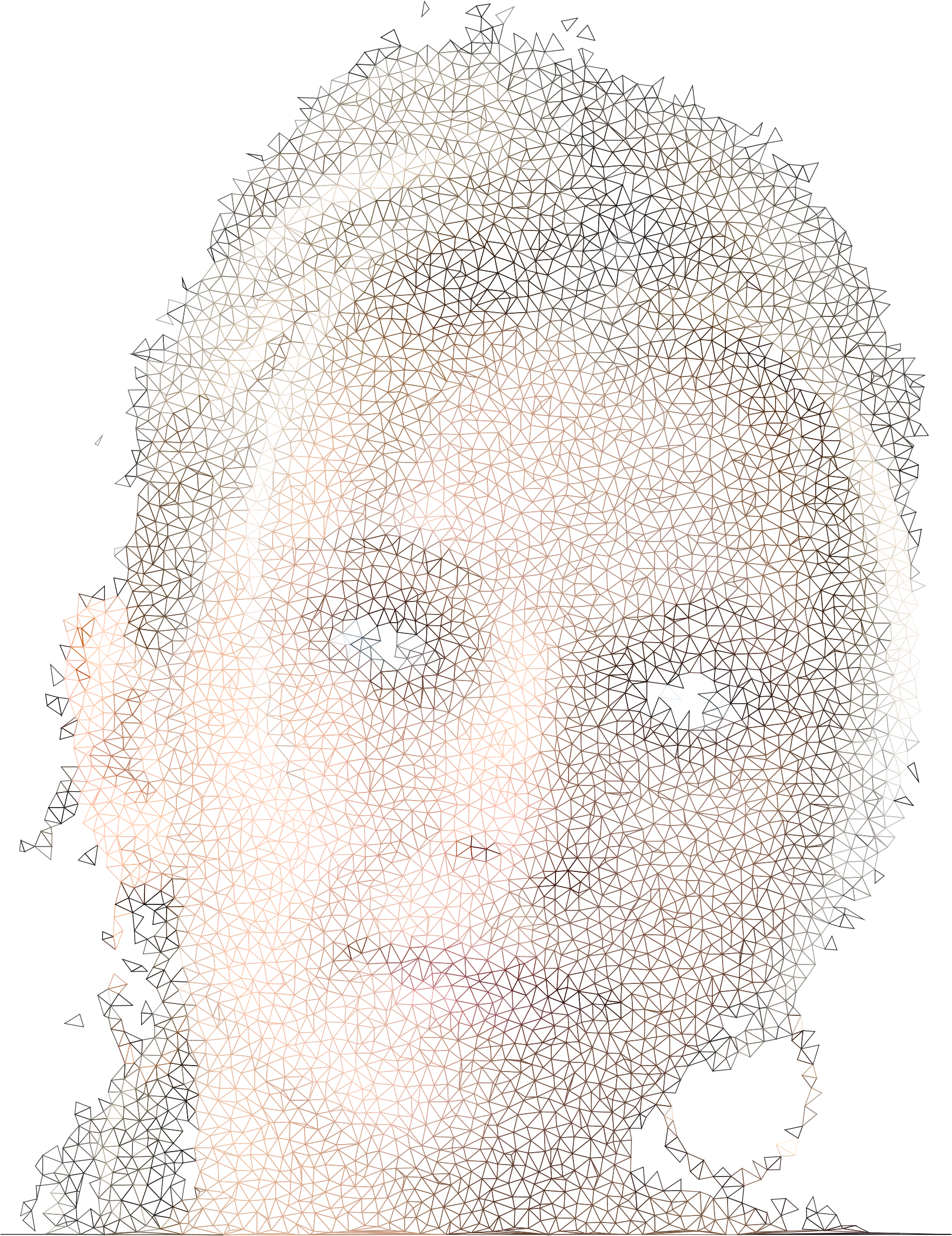 High Poly Blonde Woman Portrait Wireframe No Black by GDJ