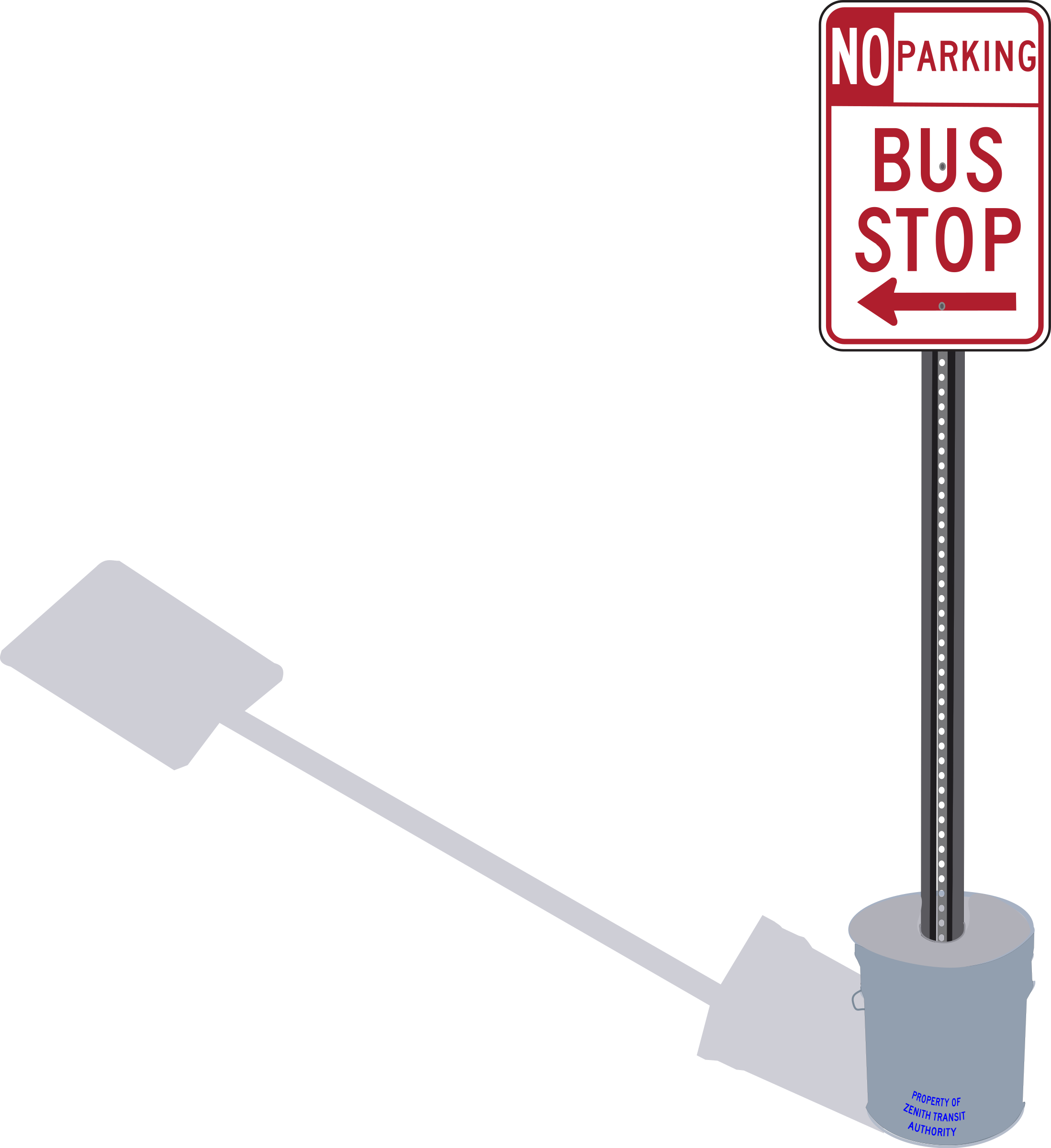 Bus Stop sign in cement pail with shadow by Rfc1394