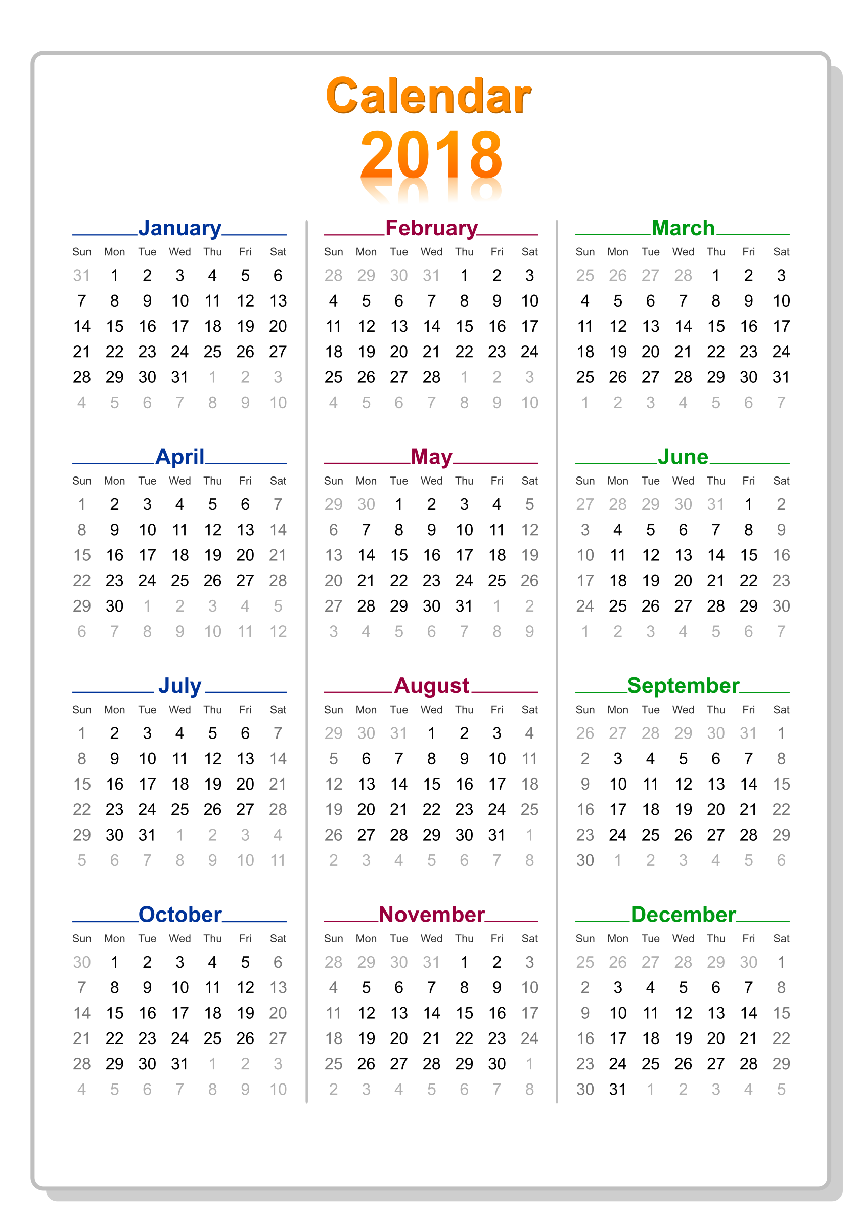 Calendar May 2018 Png : Clipart calendar colorful with border