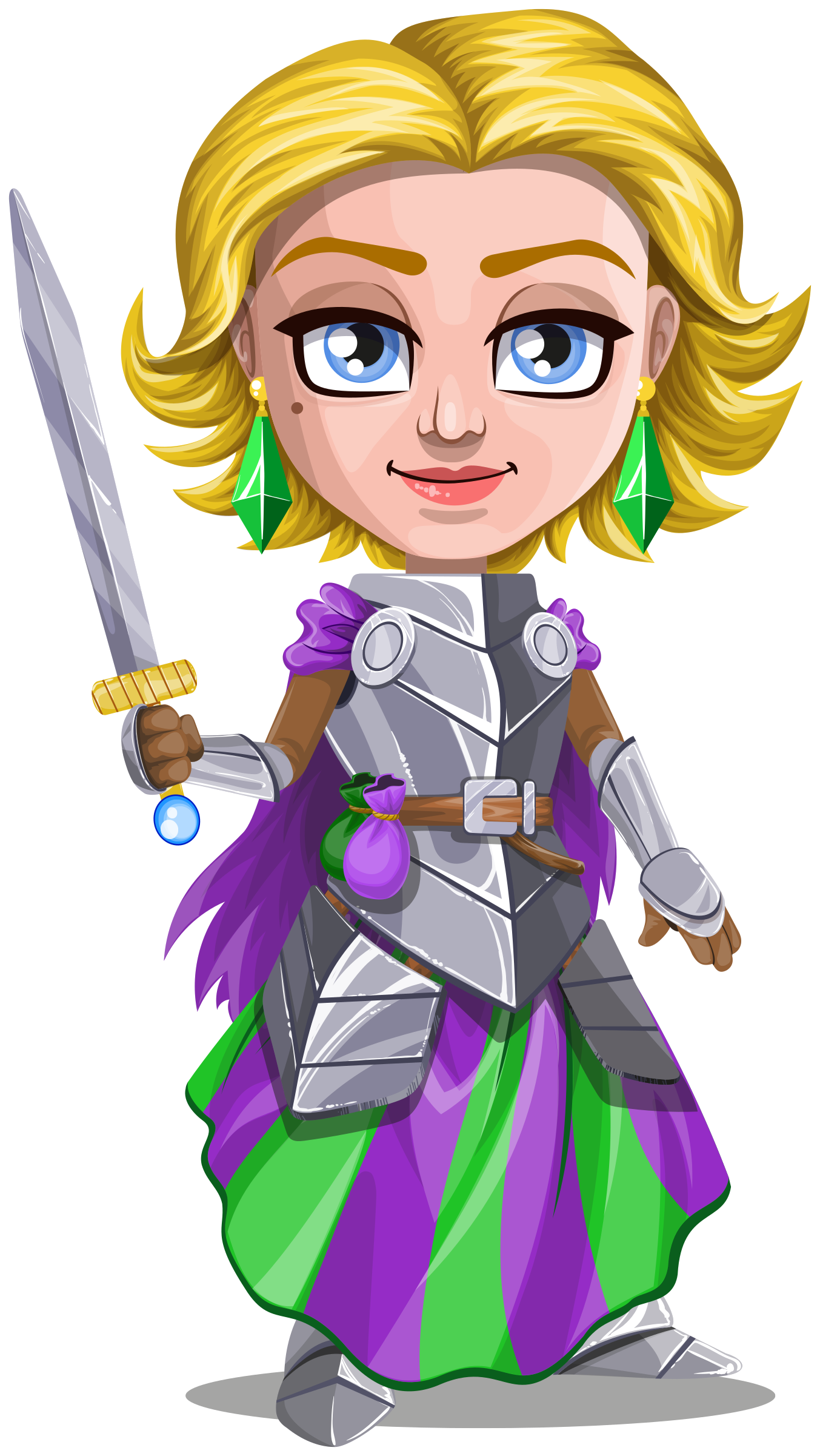 Woman knight warrior in armor, holding a sword - 2 - blonde by Juhele